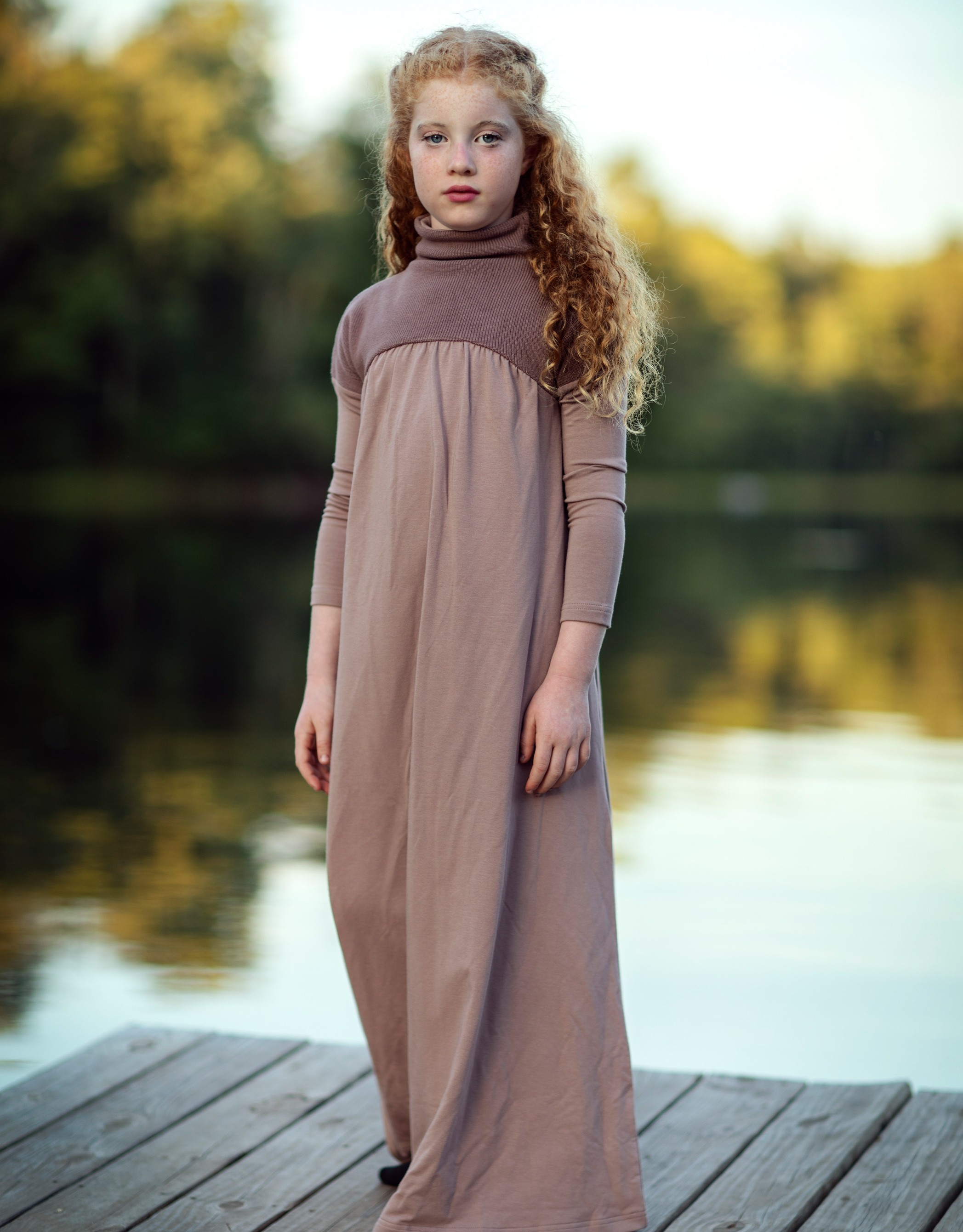Girls Maxi Dress Shabbos Robe with Ribbed Top Mauve
