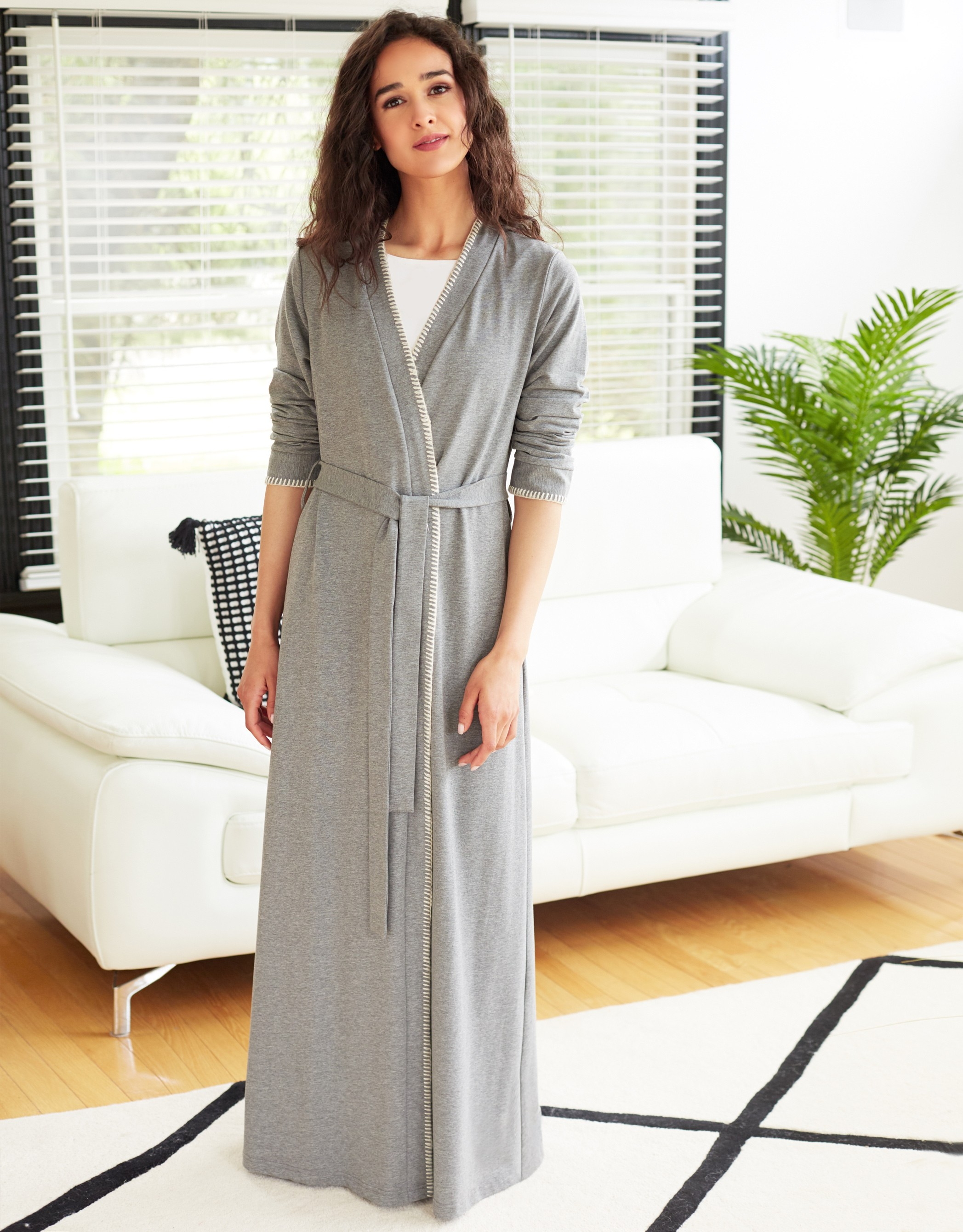 Cotton Knit Belted Wrap Robe with Blanket Stitch