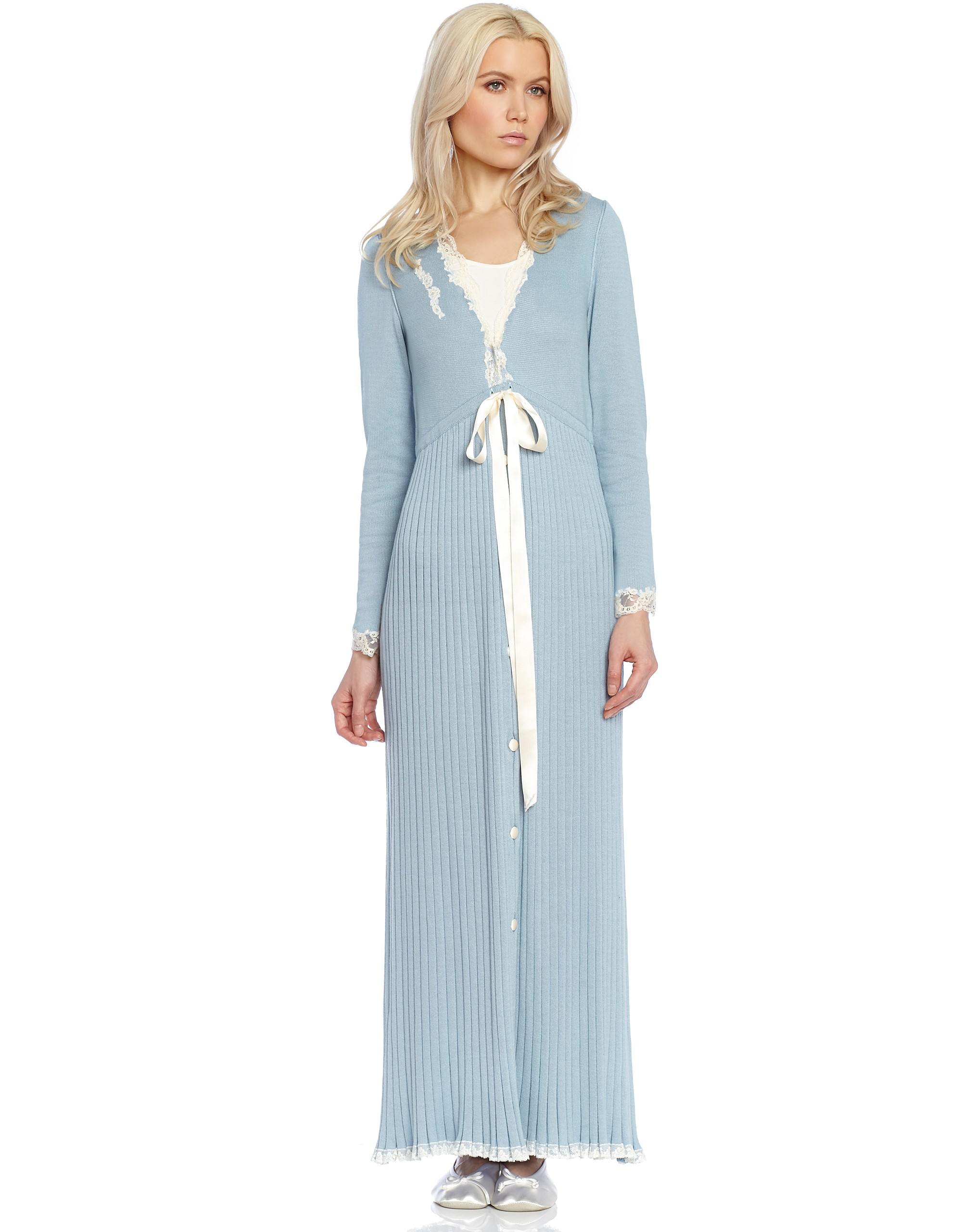 Rib Knit Button Robe with Lace Trim