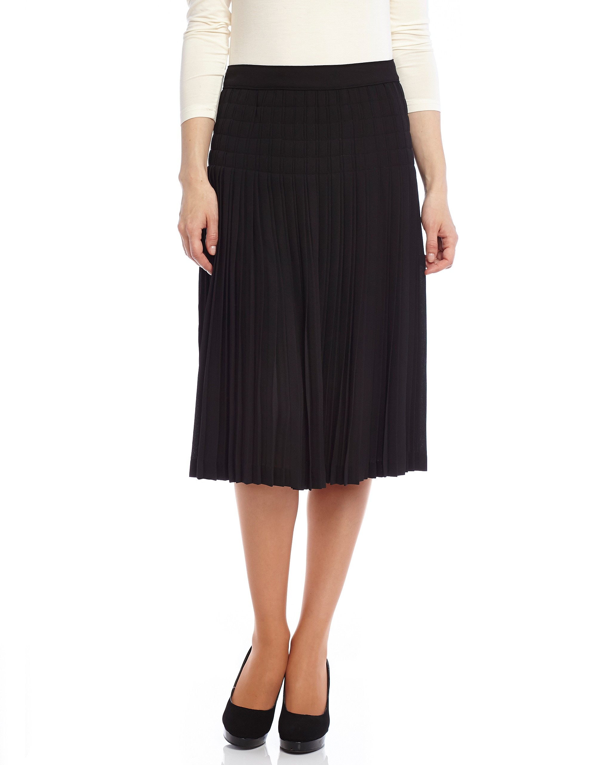 a68e26375 Pleated Stitched Chiffon Midi Skirt at The Lingerie Shop New York