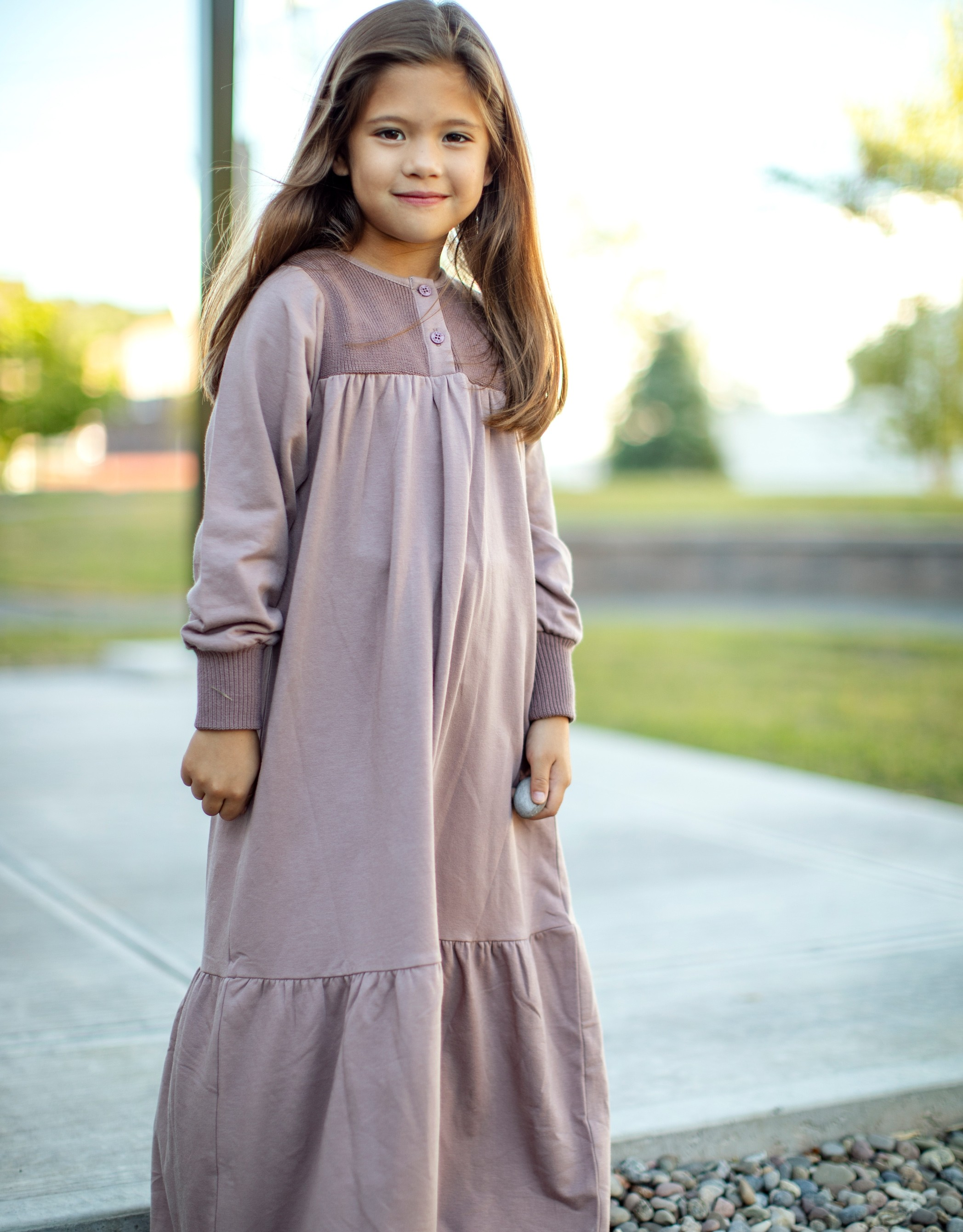 Girls Maxi Dress Shabbos Robe with Ribbed Cuffs and Button Panel Mauve