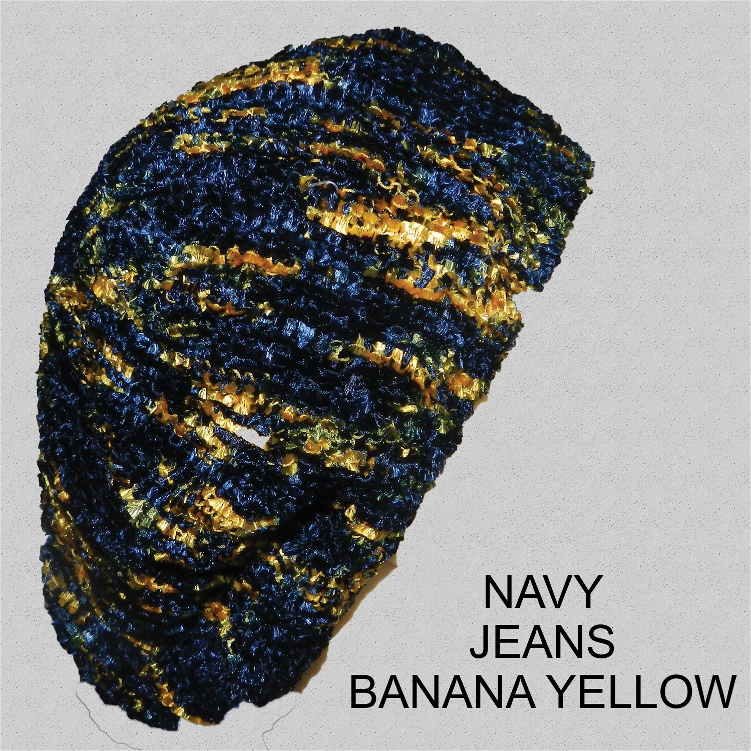 Chenille Snood Beret Multimix Navy Jeans Yellow