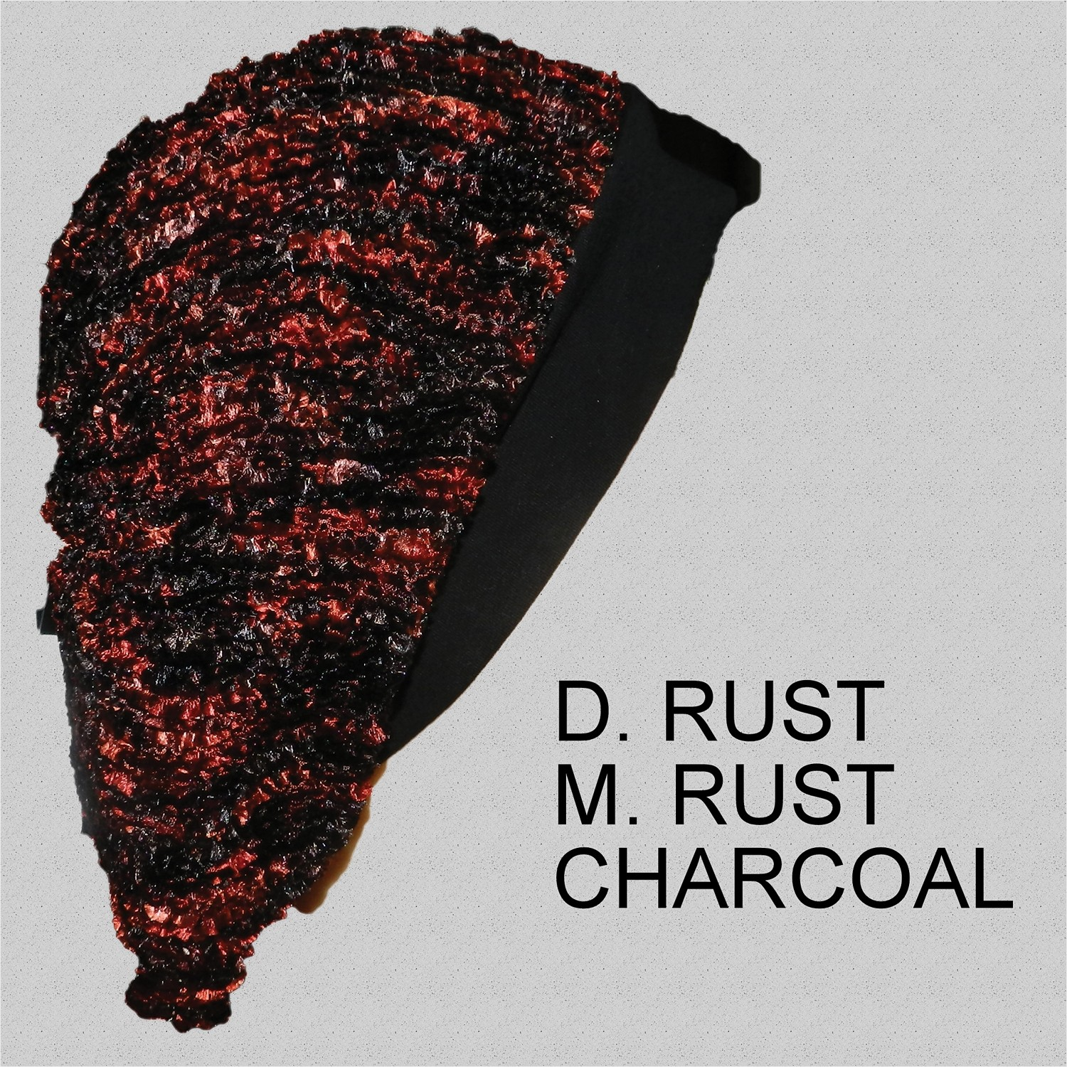 Chenille Snood Beret with Band Dark-Rust Medium-Rust Charcoal