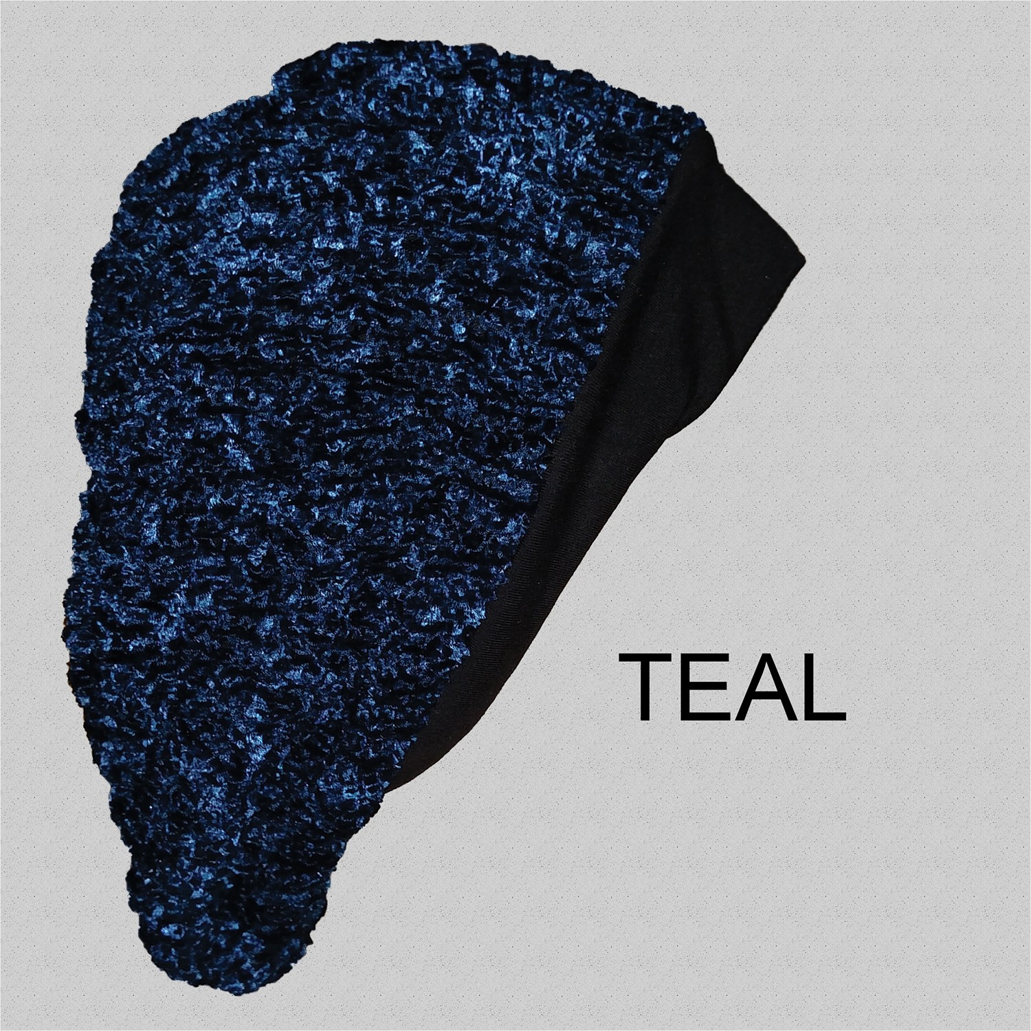 Chenille Snood Beret with Band Teal