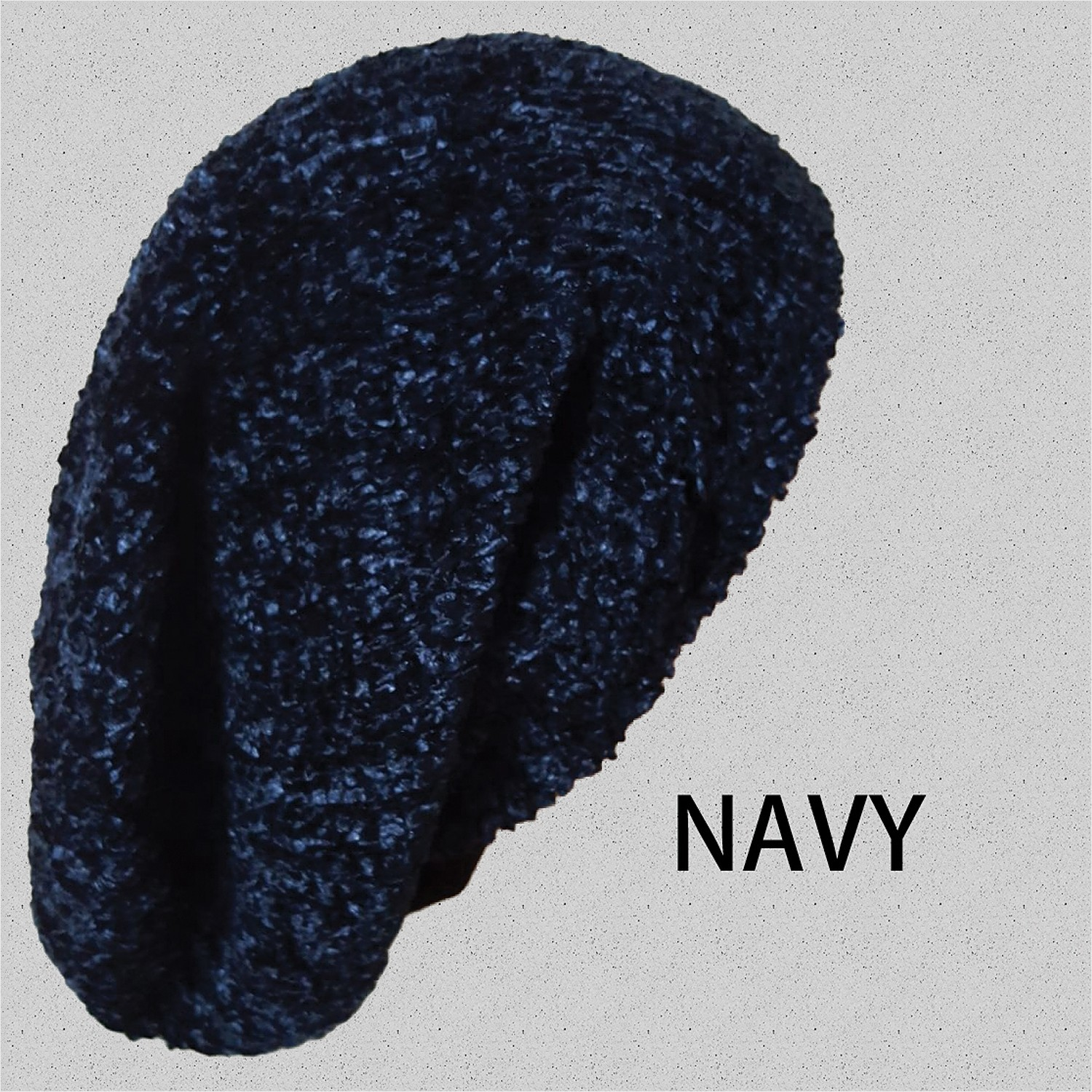 Chenille Long Snood Navy