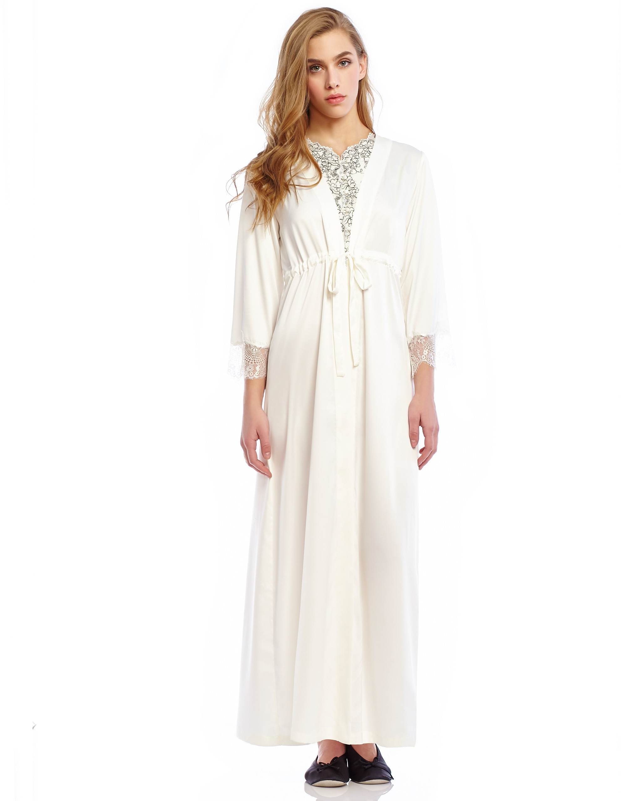 6e533369239 Silky Wrap Morning Robe with Self Tie at The Lingerie Shop New York