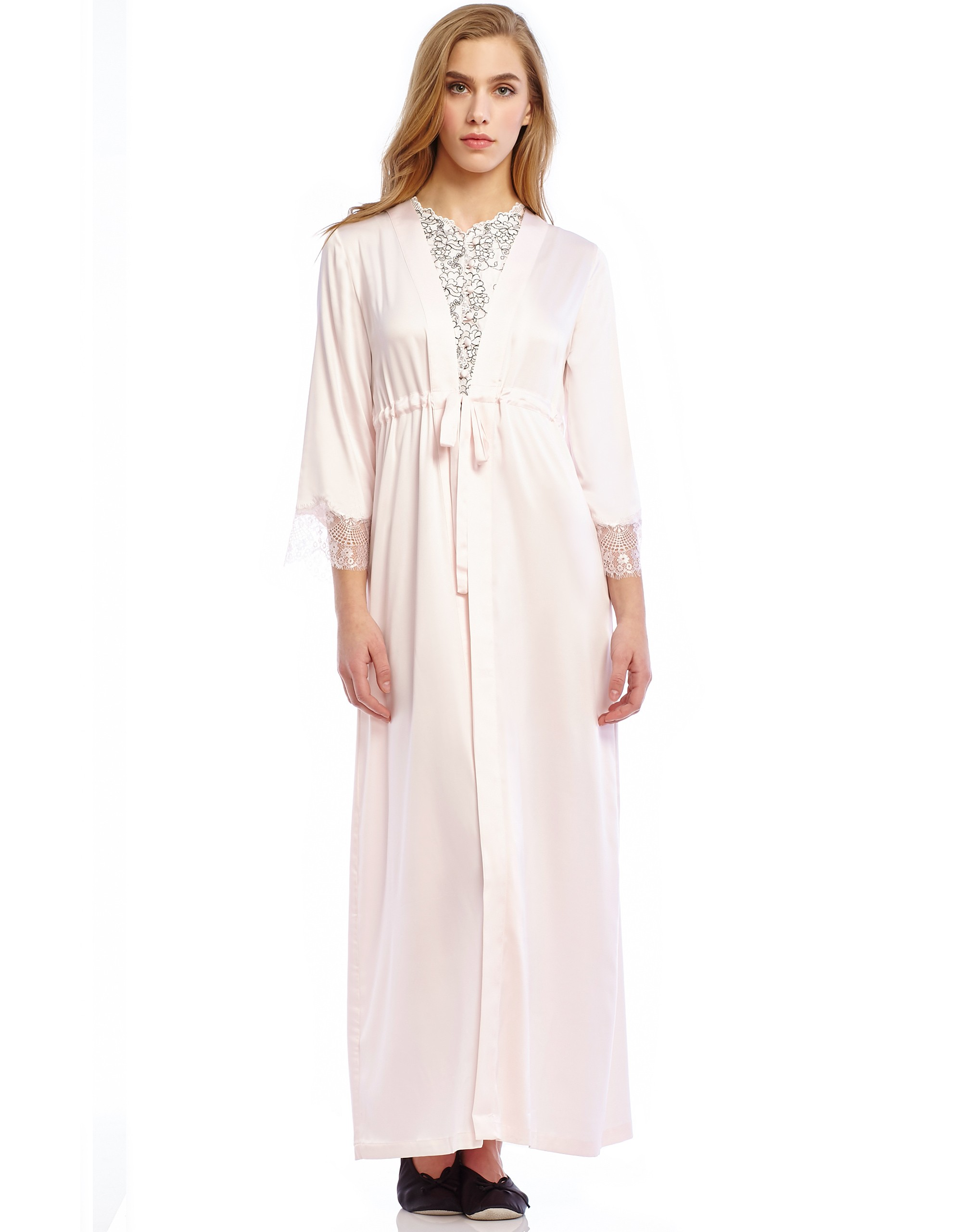 Silky Wrap Morning Robe with Self Tie