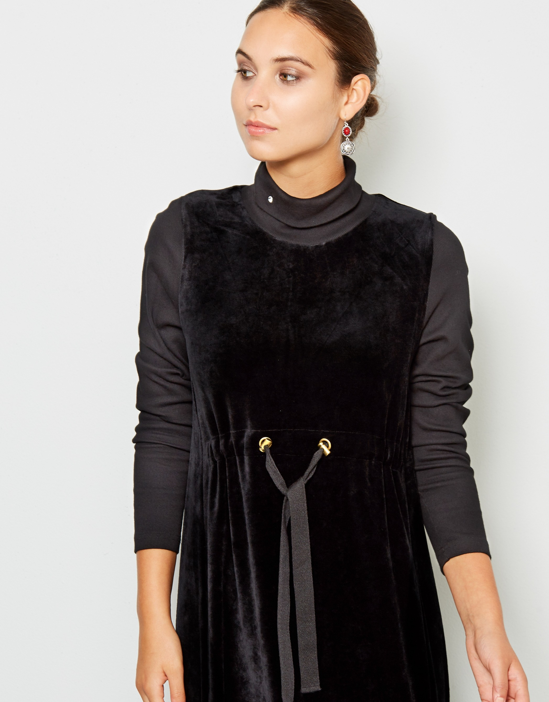 Drawstring Velour Midi Dress Lounger with Ribbed Tneck and Sleeves