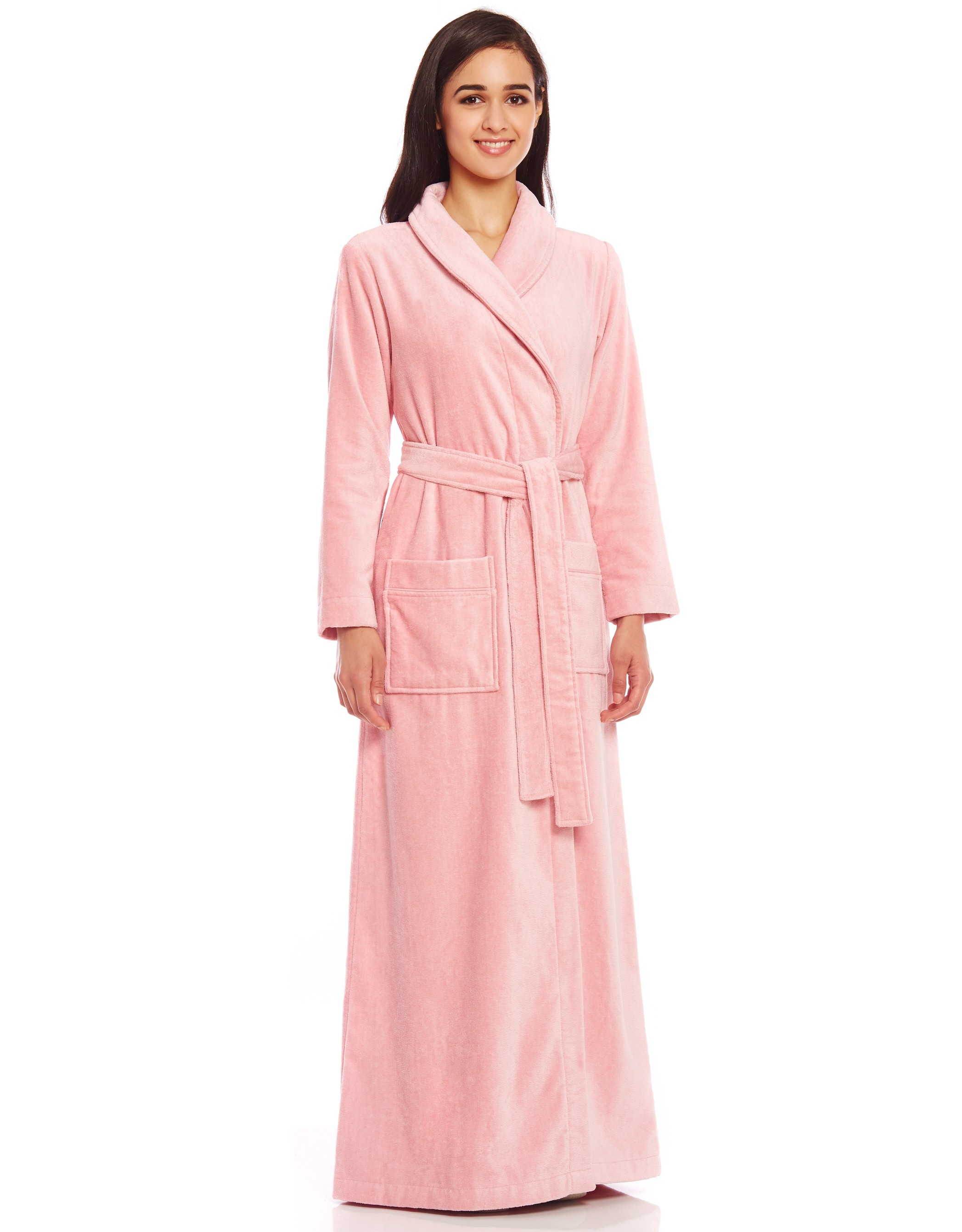 Terry Wrap Belted Bathrobe with Piped Trim