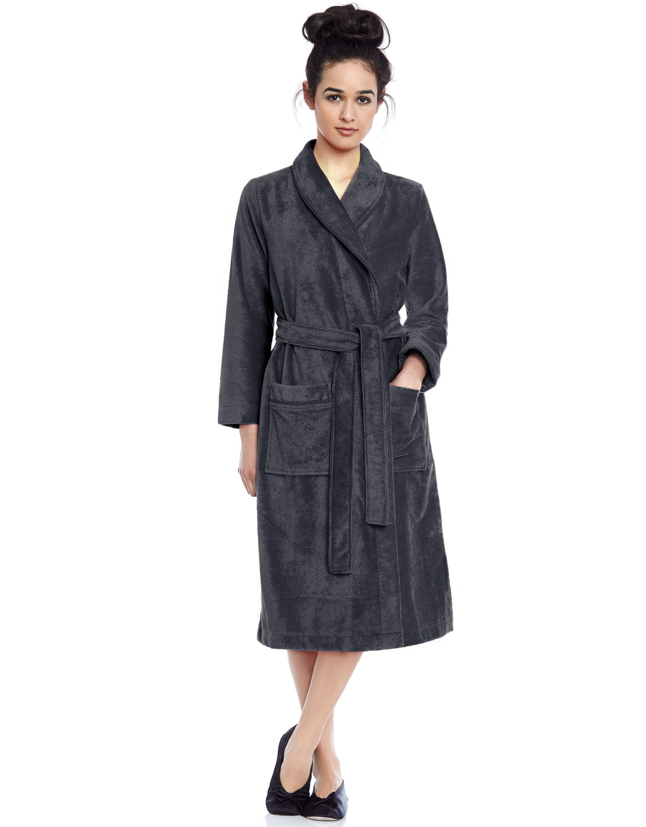 Terry Wrap Belted Short Bathrobe with Contrast Piped Trim ...