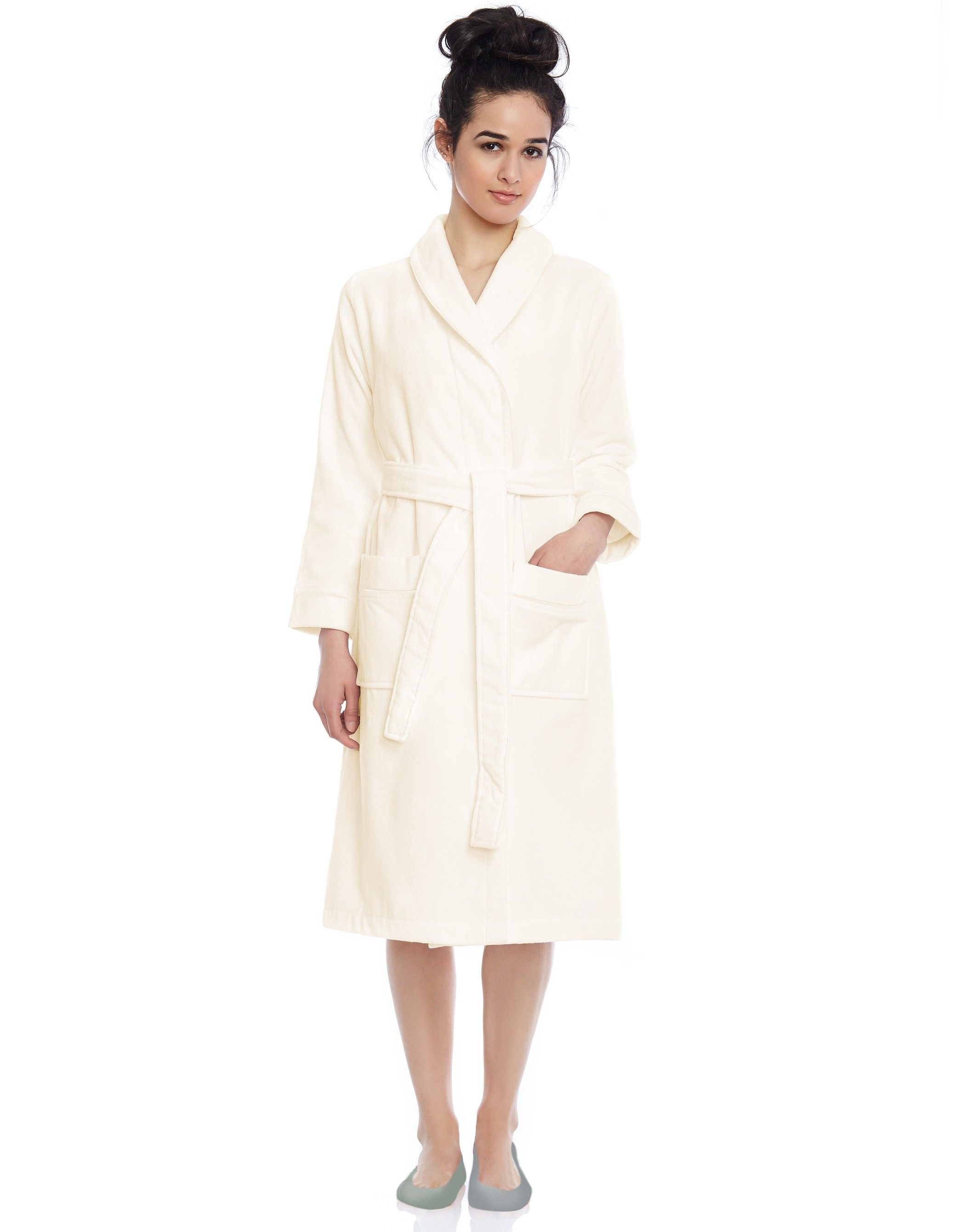 Terry Wrap Belted Short Bathrobe