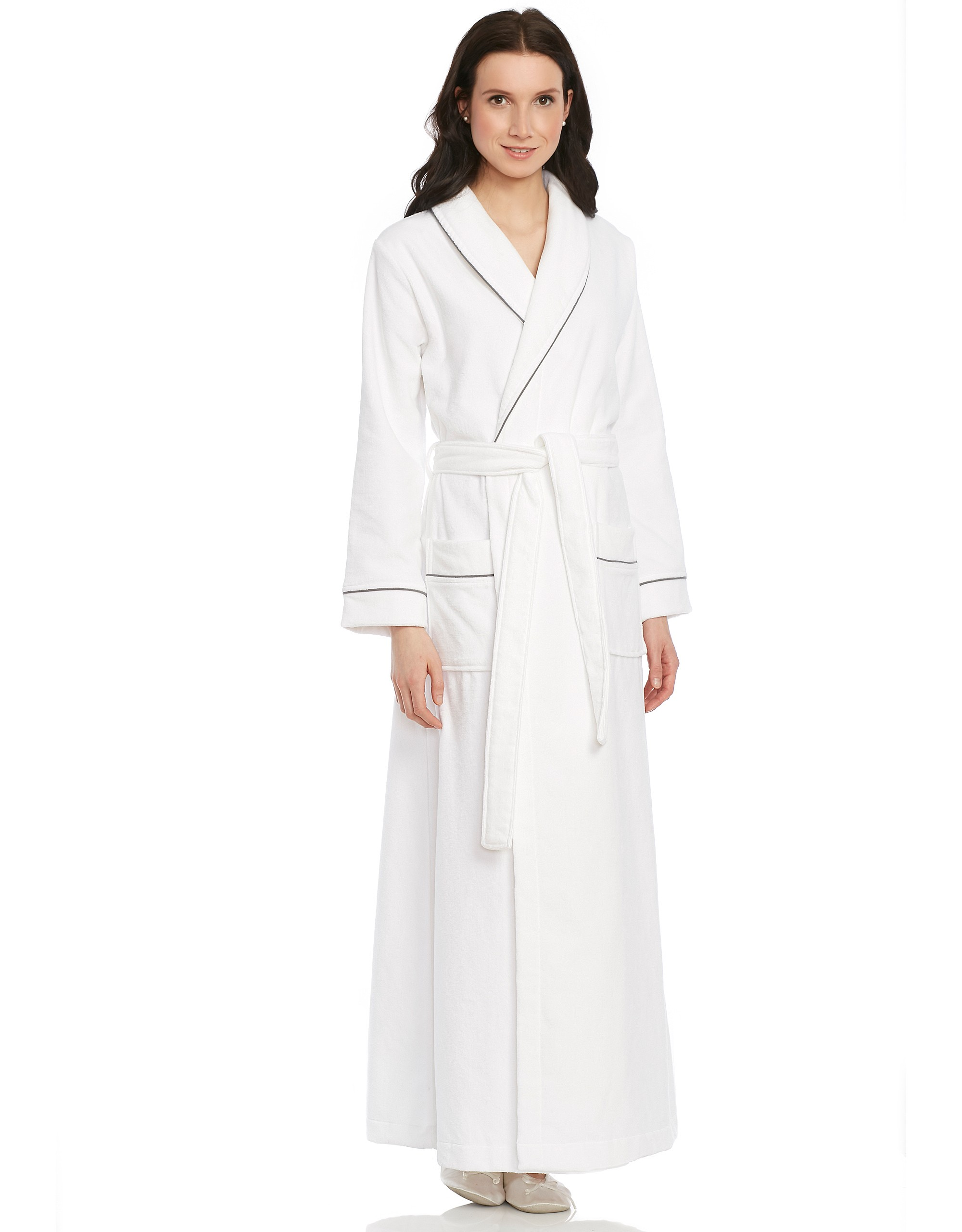 5854728312 Terry Wrap Belted Bathrobe with Piped Trim at The Lingerie Shop New York