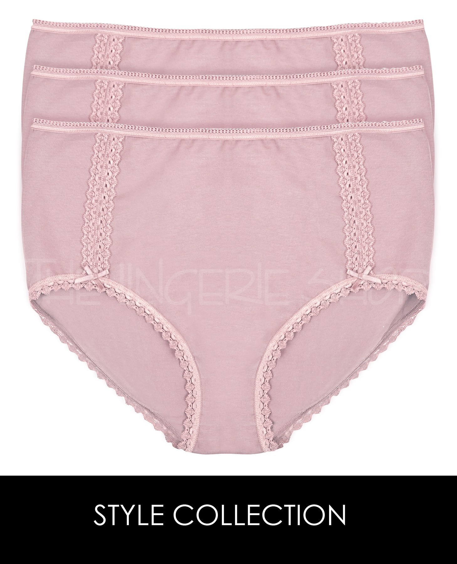 Style Collection Lace Trim Pima Cotton Panty Briefs