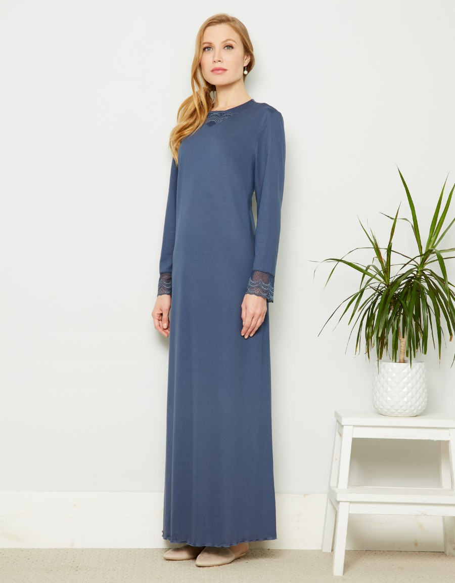 Rosch Lace Trimmed Designer Nightgown Blue