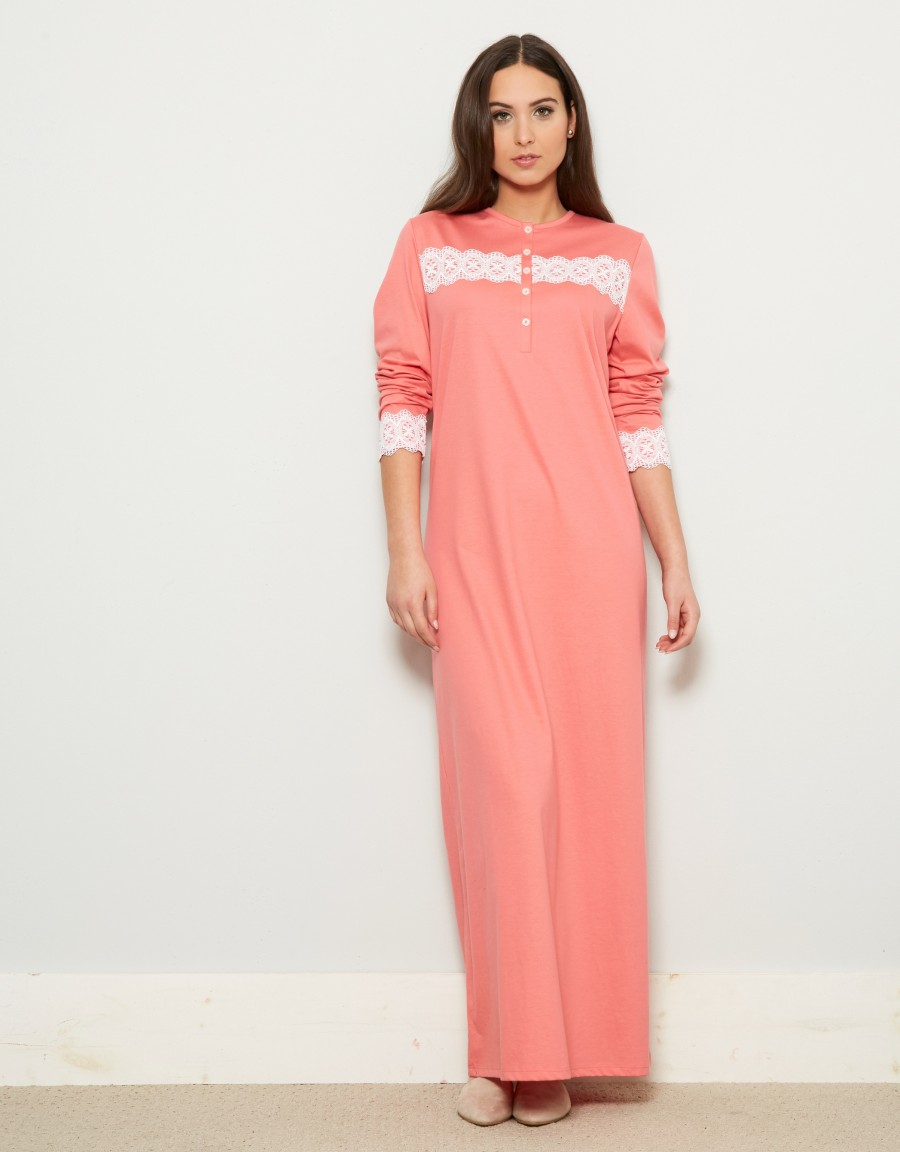 Rosch Button Front Nightgown with Lace