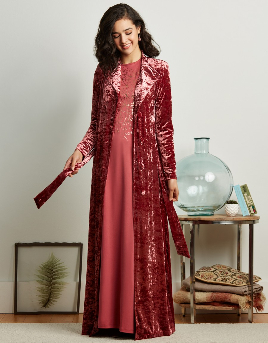Crushed Velvet Button Down Wrap Robe with Back Smocking and Attached Belt