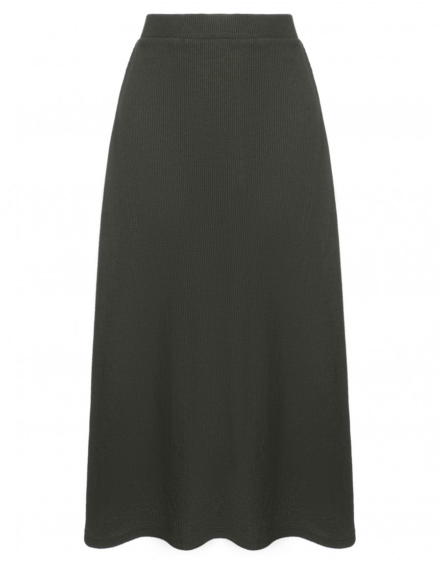 """33"""" Ribbed Skirt with Covered Elastic Waistband Gray"""