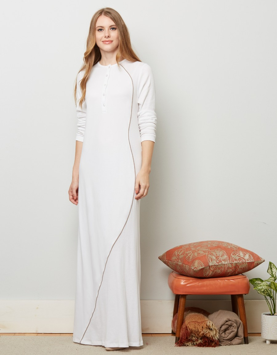 Button Front Nightgown with Contrast Piping White