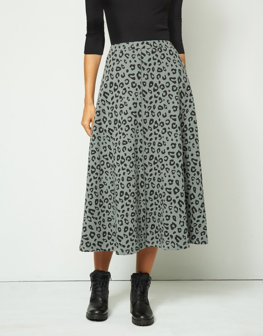 """33"""" French Terry Leopard Print Aline Skirt with Exposed Center Seam Sage"""