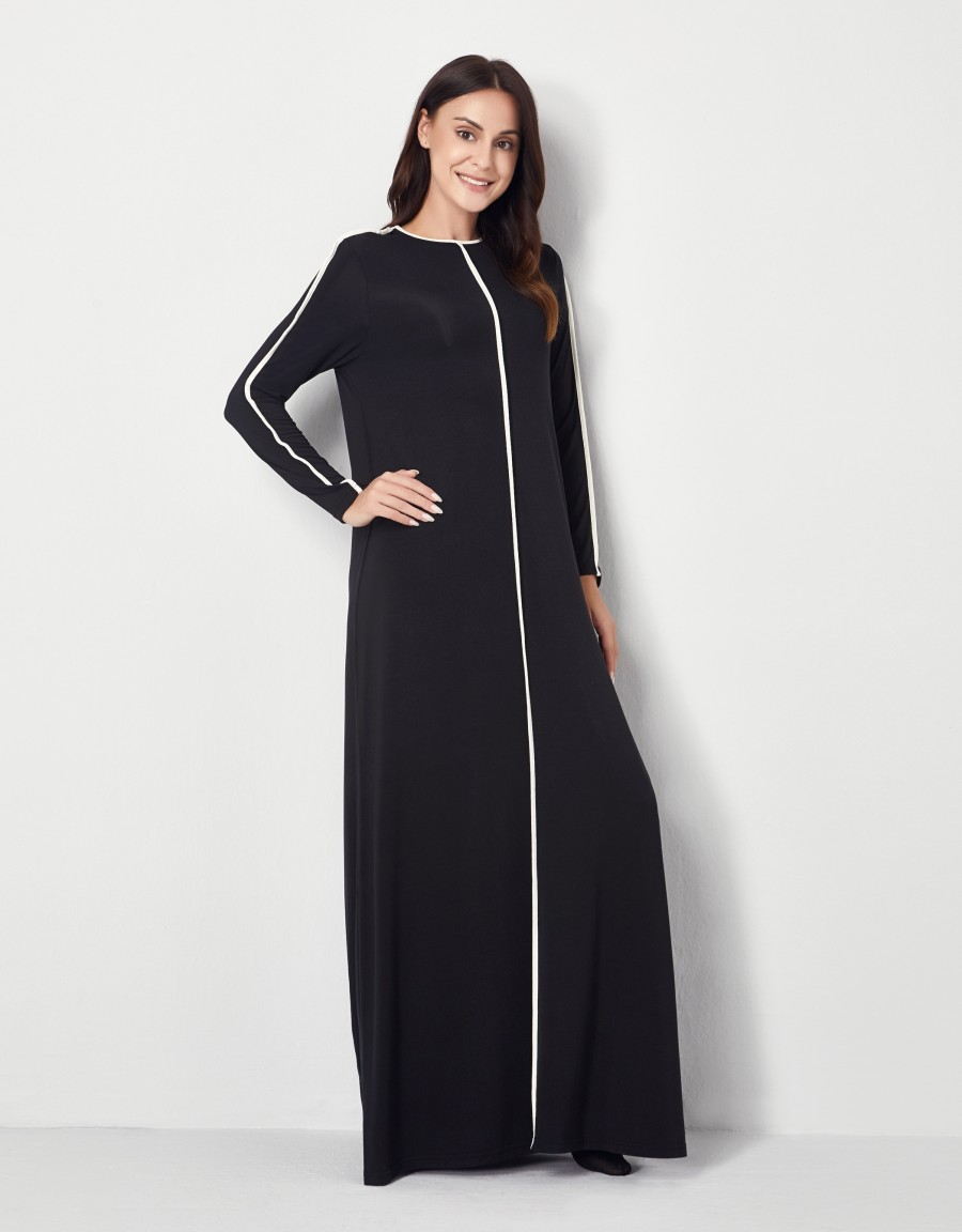 Pop On Nightgown with Contrast Trim Black White