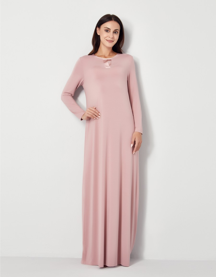 Pop On Nightgown with Tonal Satin Trim Pink