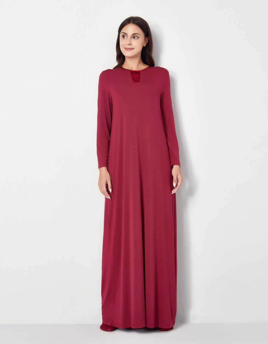 Pop On Nightgown with Tonal Satin Trim Cranberry