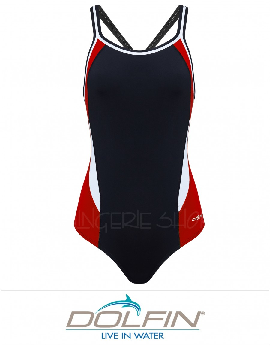 Dolphin Women's Chloroban Color Block DBX Back One Piece Swimsuit