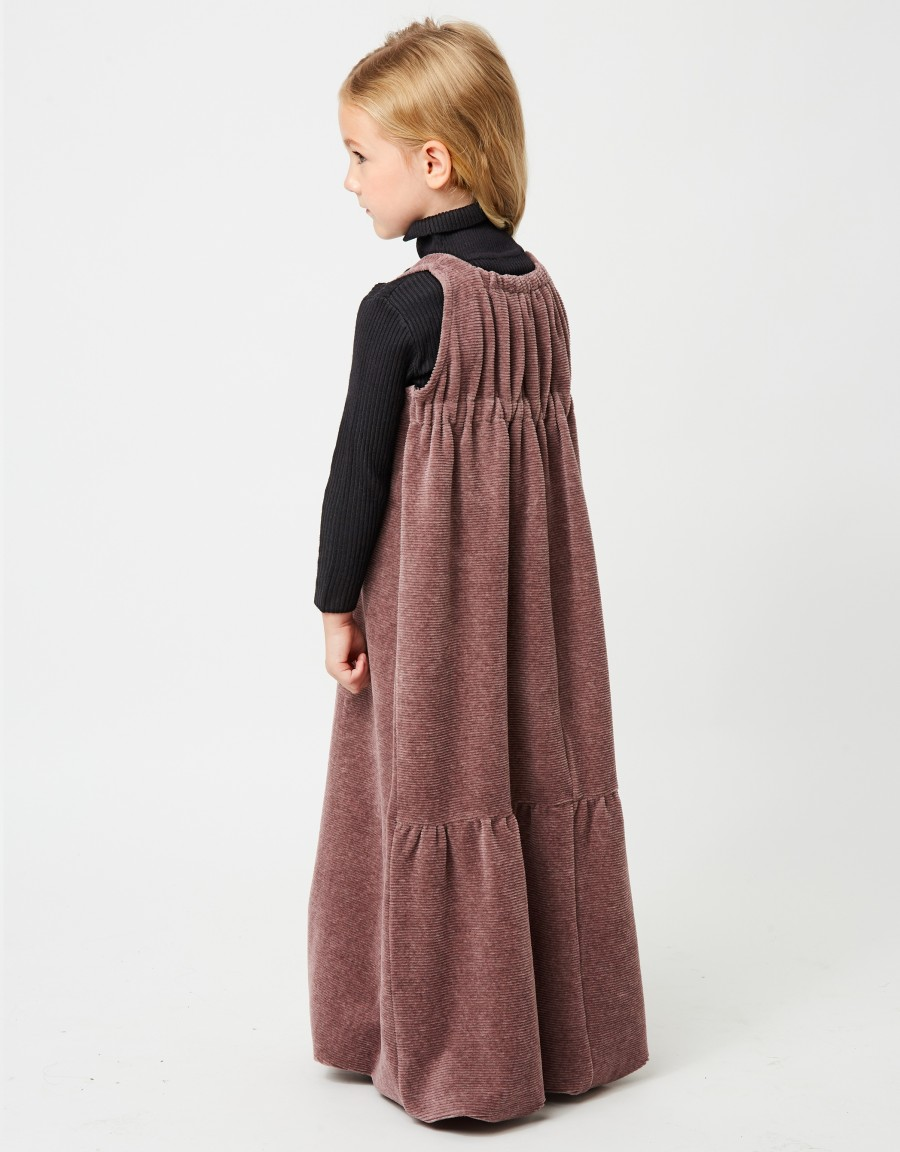 Girls Ribbed Maxi Dress Shabbos Jumper with Back Shirring Pink