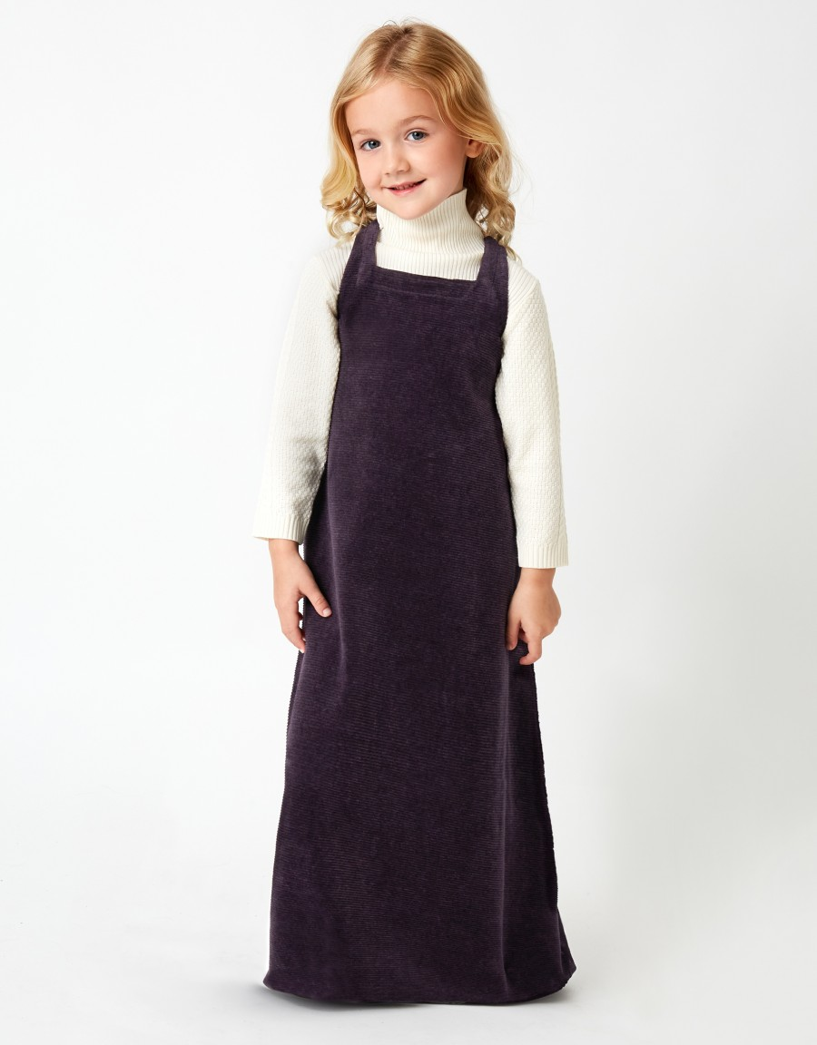 Girls Ribbed Maxi Dress Shabbos Jumper with Back Shirring Purple