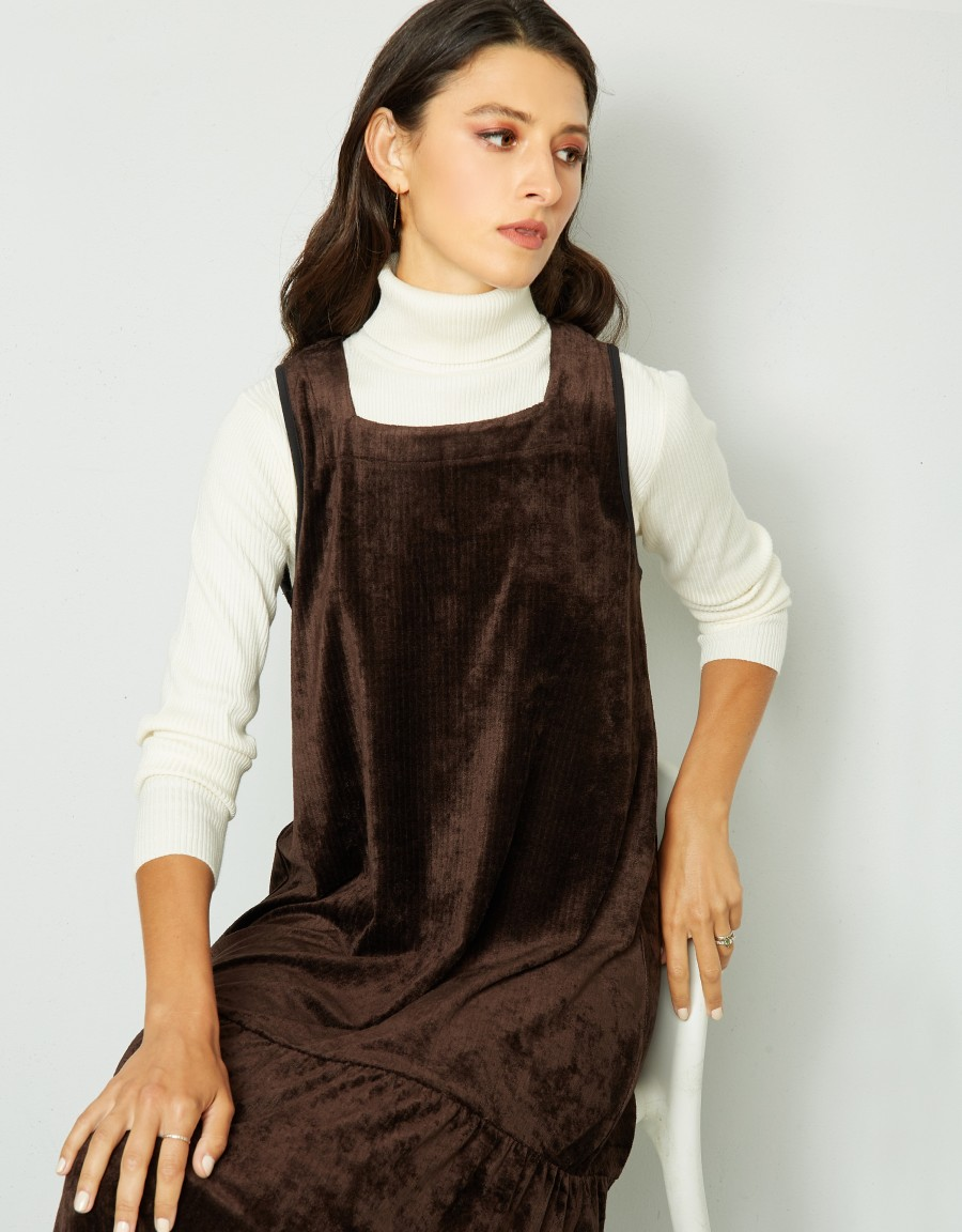 Tiered Maxi Jumper Shabbos Robe with Armhole Binding Brown