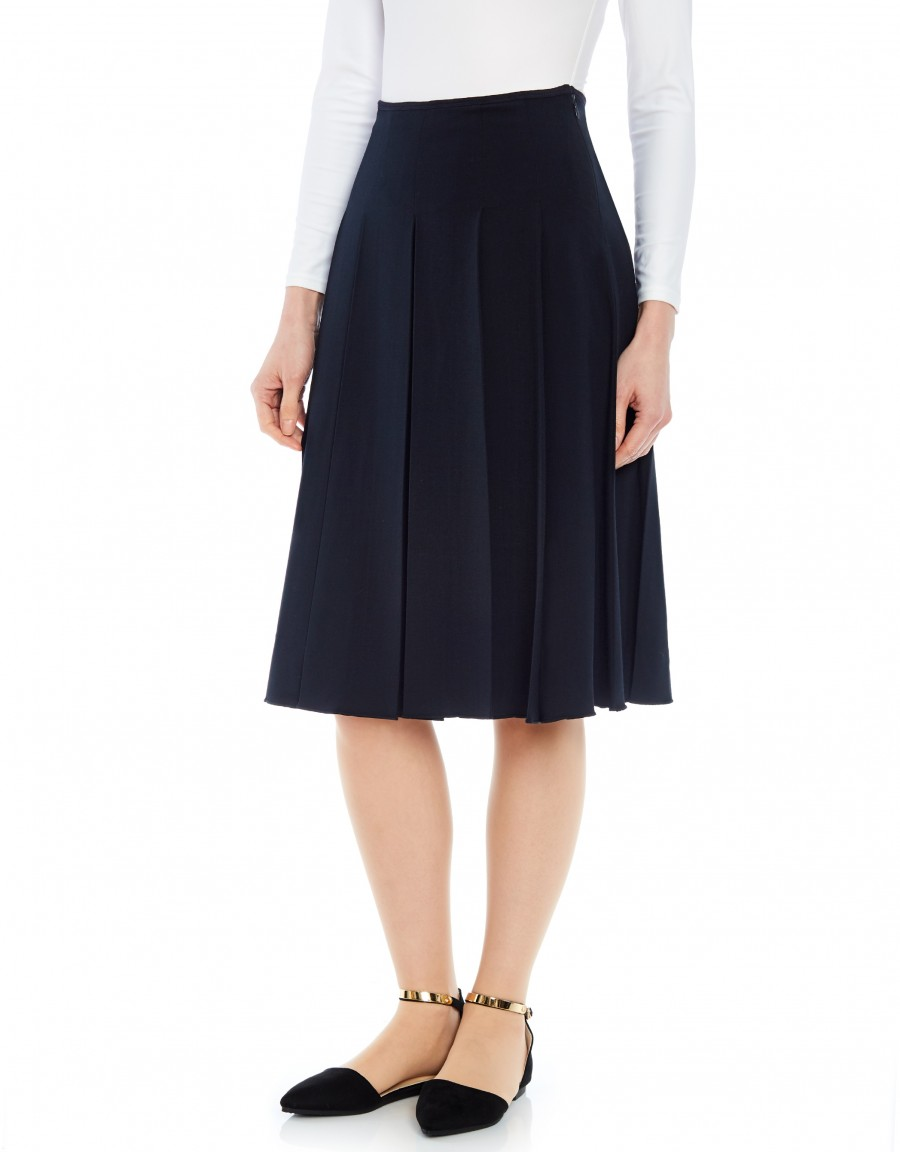 """26"""" Skirt with Wide Pleats Navy"""