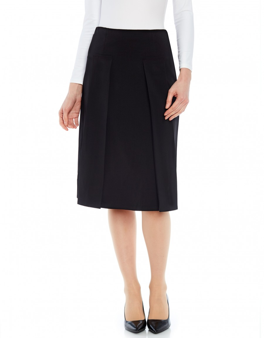 """26"""" Skirt with Applied Pleats Black"""