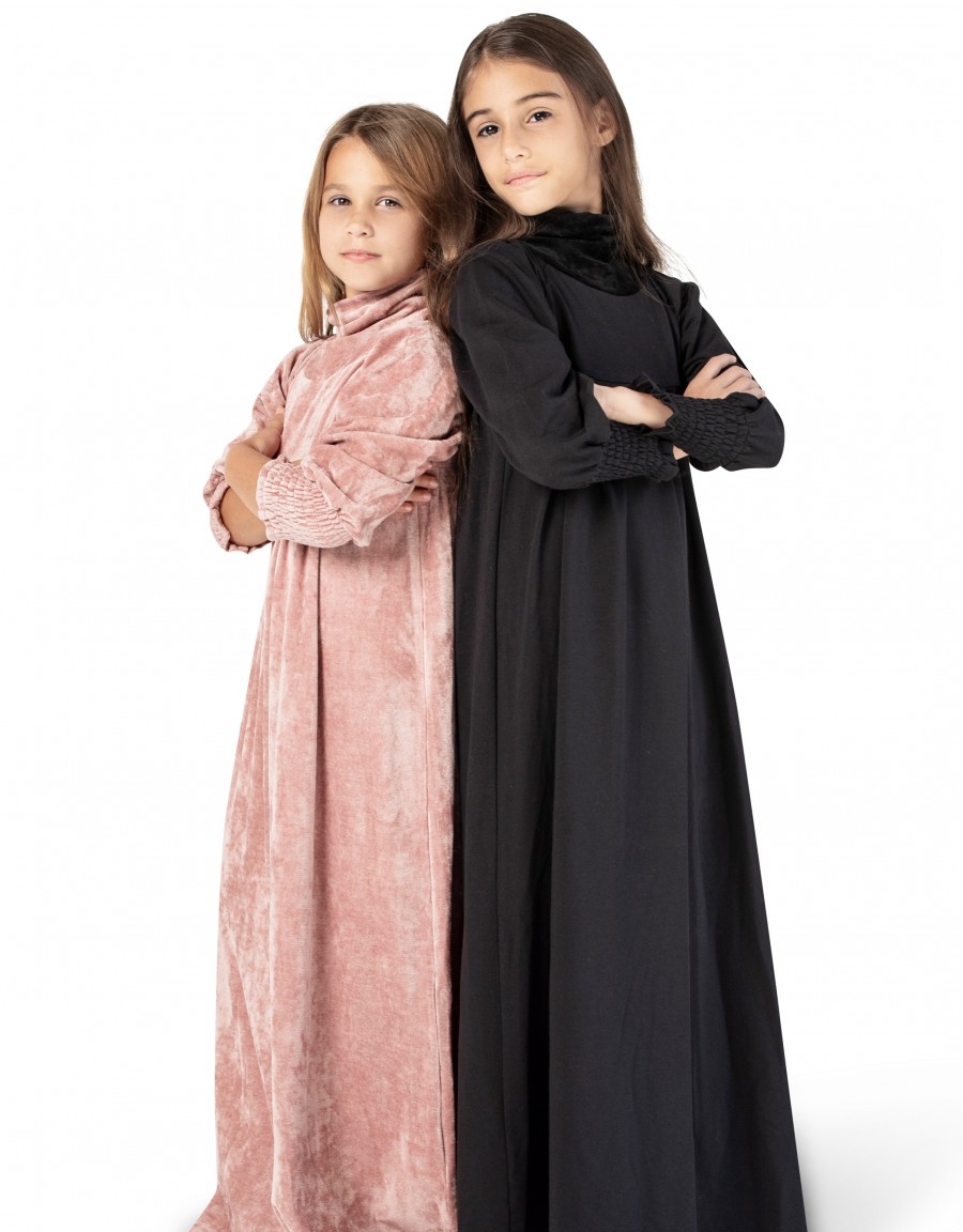Girls French Terry Robe with Smocked Cuffs and Velour Cowl Black