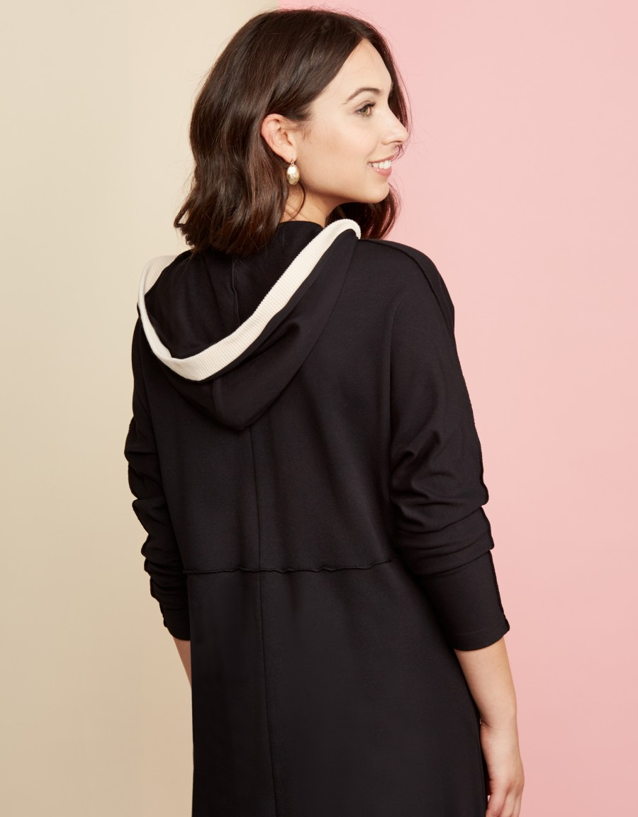 Zippered Exposed Seam Hoodie Lounger with Contrast Rib