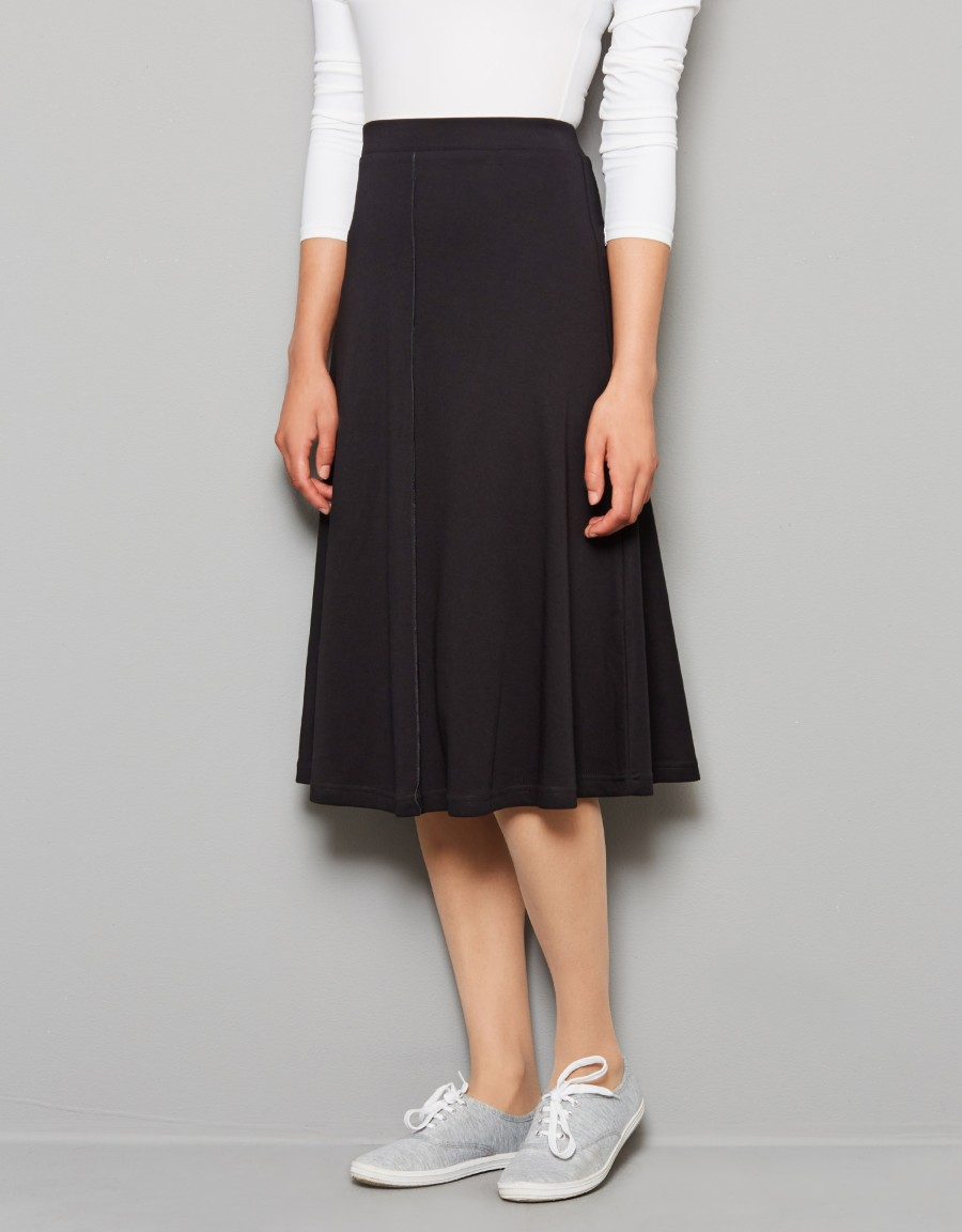 """27.5"""" Aline Seamed Lightweight Jersey Skirt with Covered Elastic Waistband"""