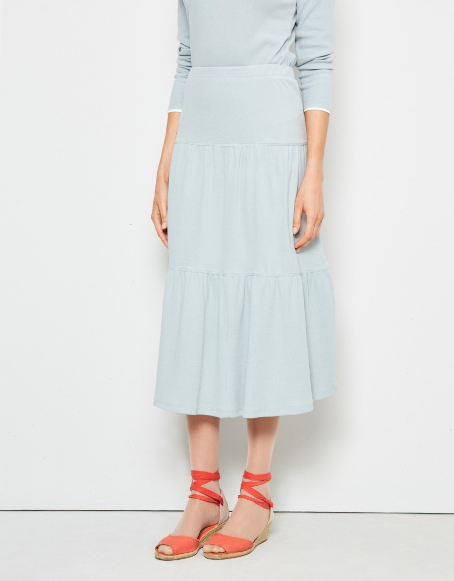 Tiered Ribbed Skirt with Covered Elastic Waistband Light Blue