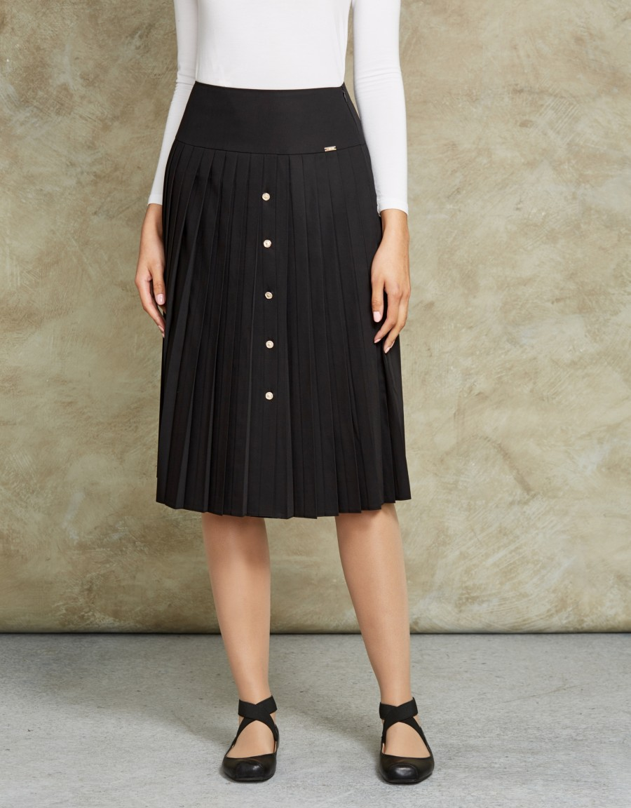 """27"""" Pleat Skirt with Gold Buttons"""