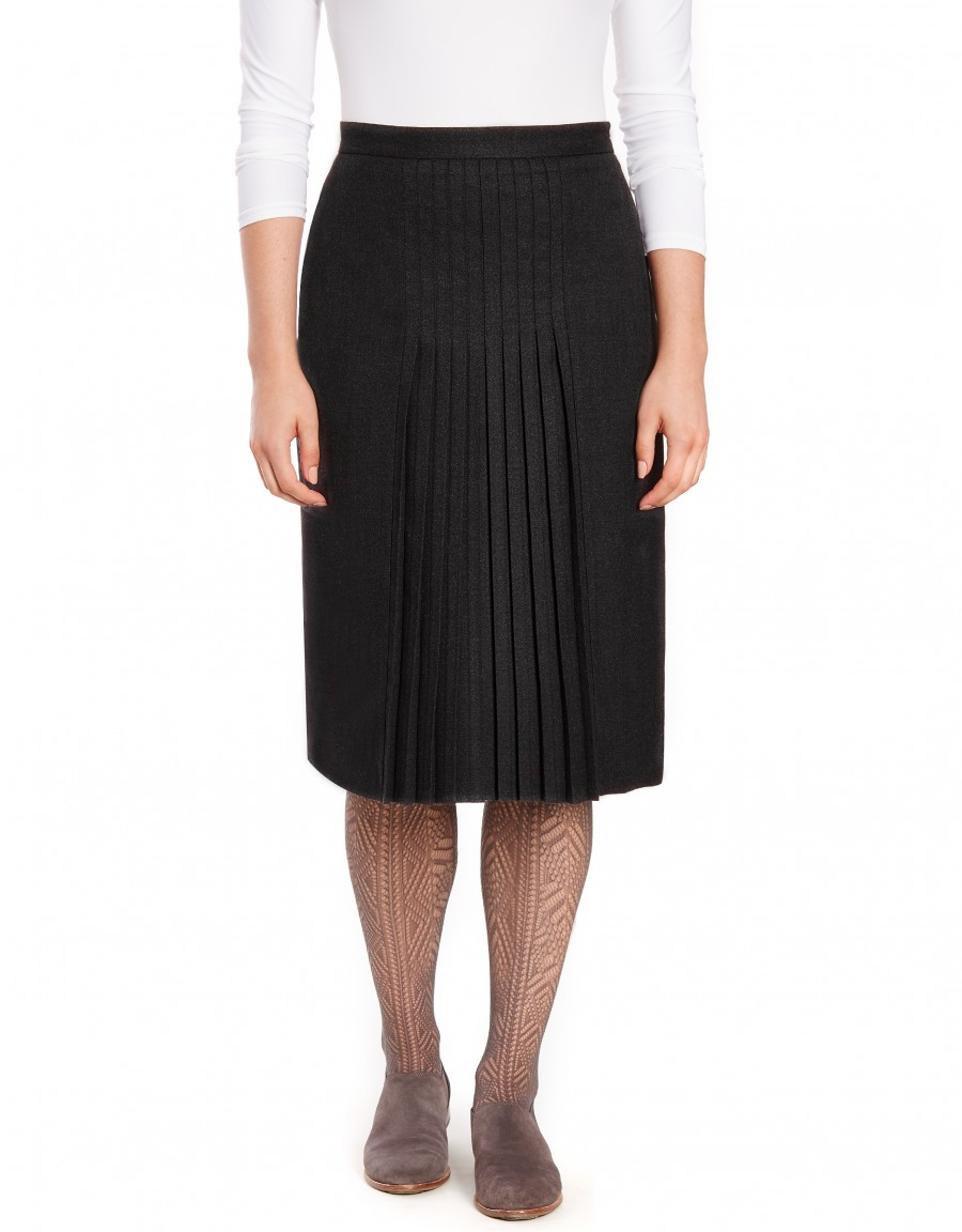 """28.5"""" Lined Wool Blend Skirt with Stitched Mini Pleats Charcoal"""