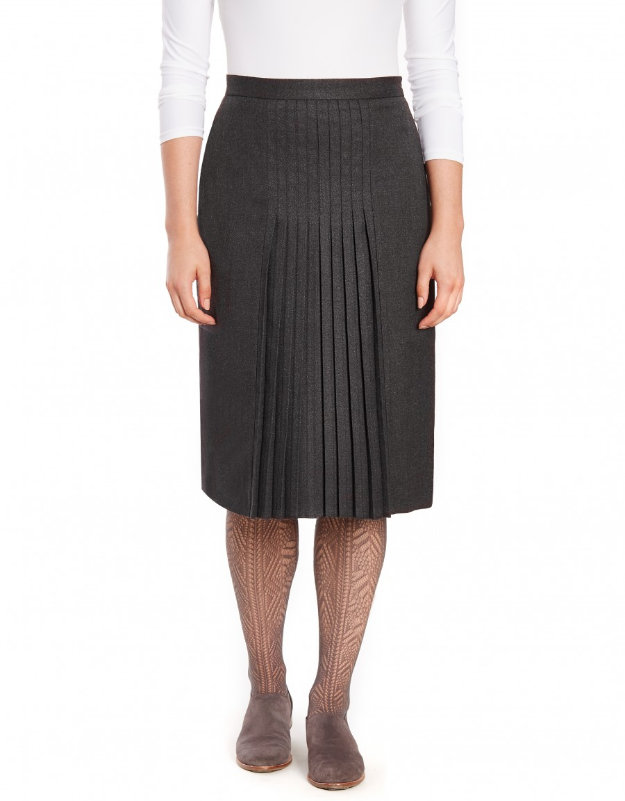 """28.5"""" Lined Wool Blend Skirt with Stitched Mini Pleats Gray"""