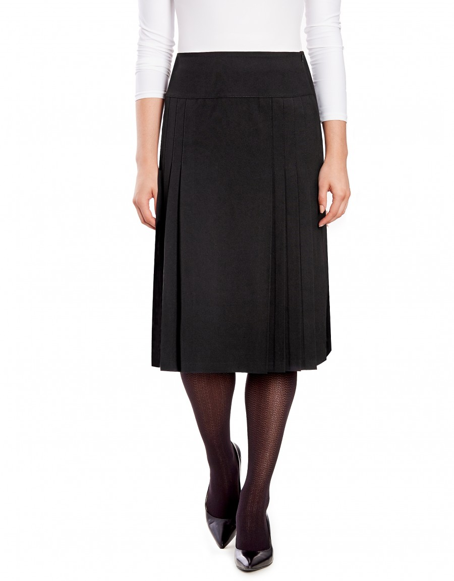 """28"""" Lined Wool Blend Pleated Yoke Skirt with Center Panel"""