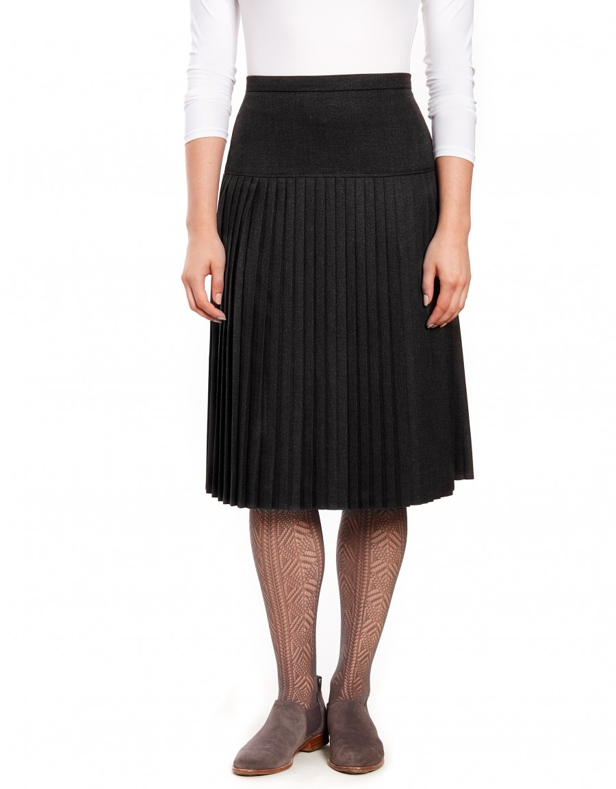 """29"""" Lined Wool Blend Yoke Skirt with Accordian Pleats Charcoal"""
