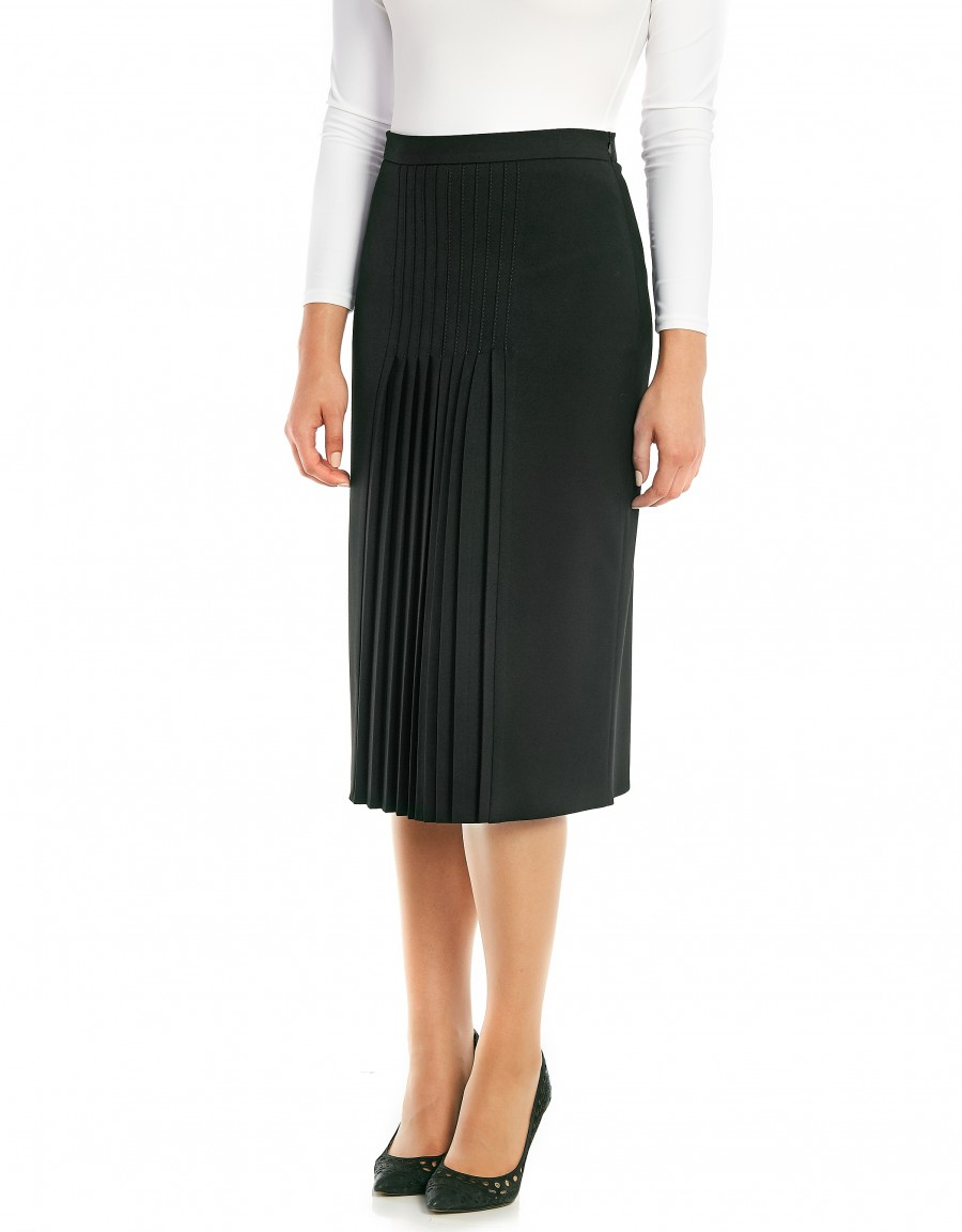 """28.5"""" Lined Skirt with Stitched Mini Pleats"""