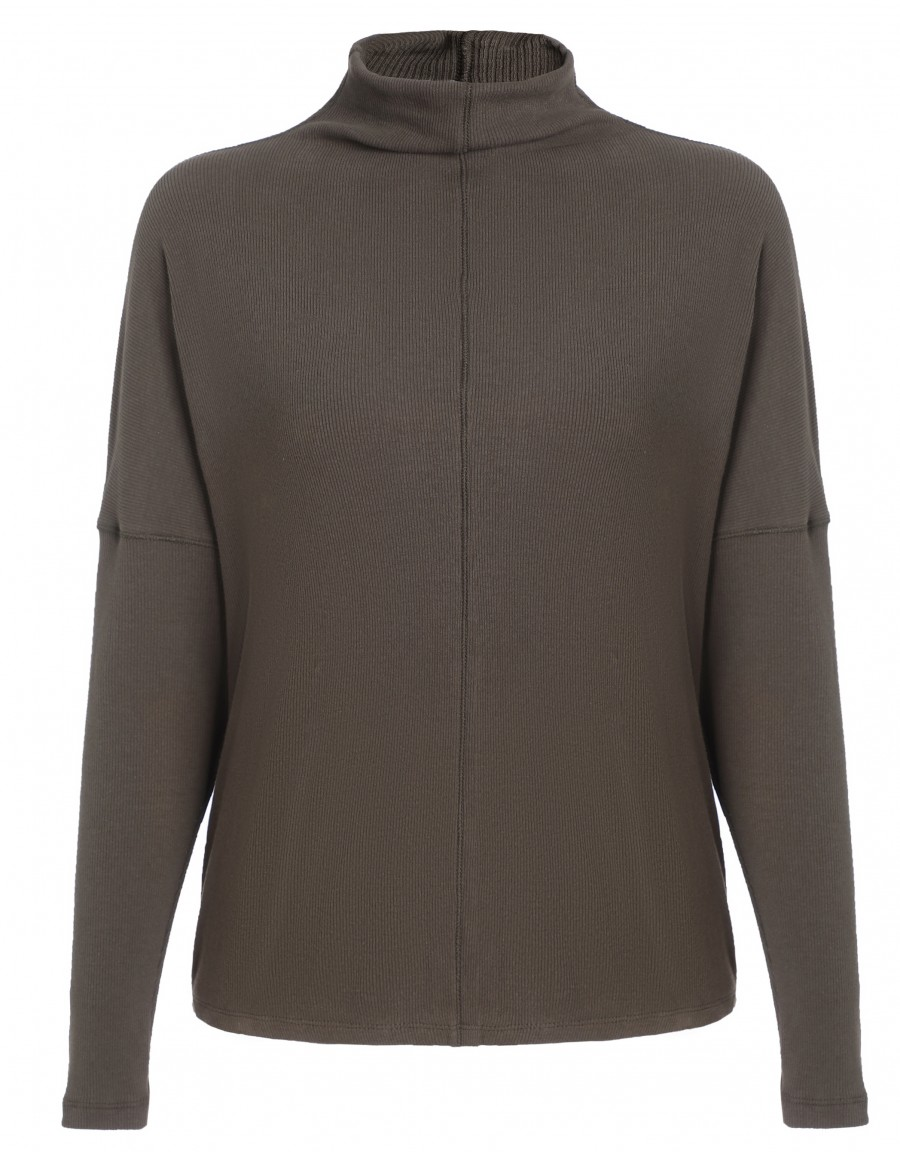 Ribbed Funnel Neck Top Gray