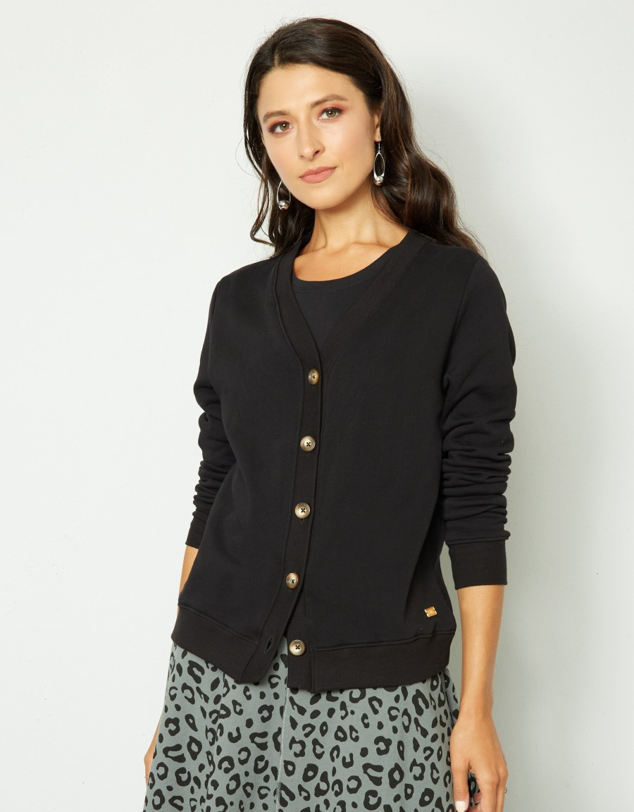 Light French Terry Buttoned Cardigan Black