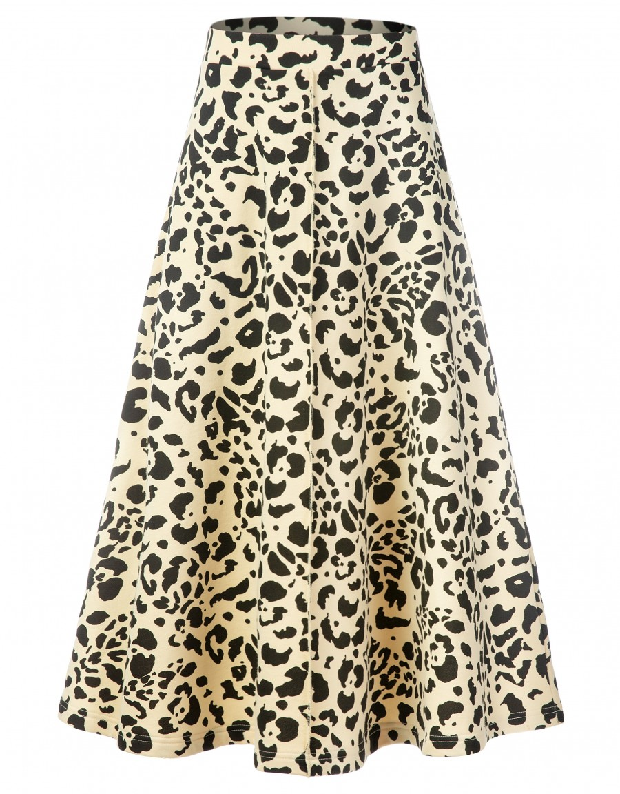 """33"""" French Terry Animal Print Aline Skirt with Exposed Center Seam Ivory"""