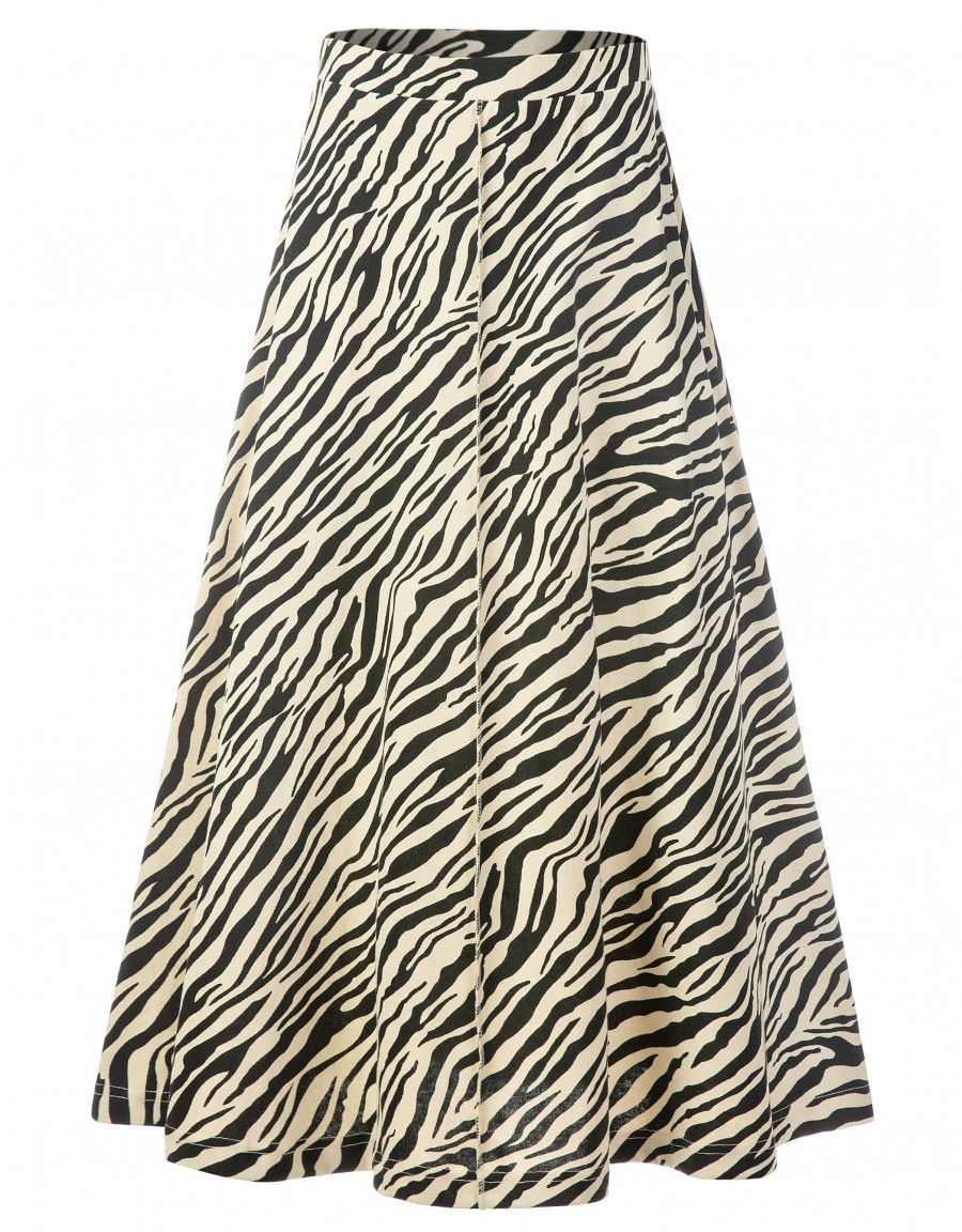 """33"""" French Terry Zebra Print Aline Skirt with Exposed Center Seam Ivory"""