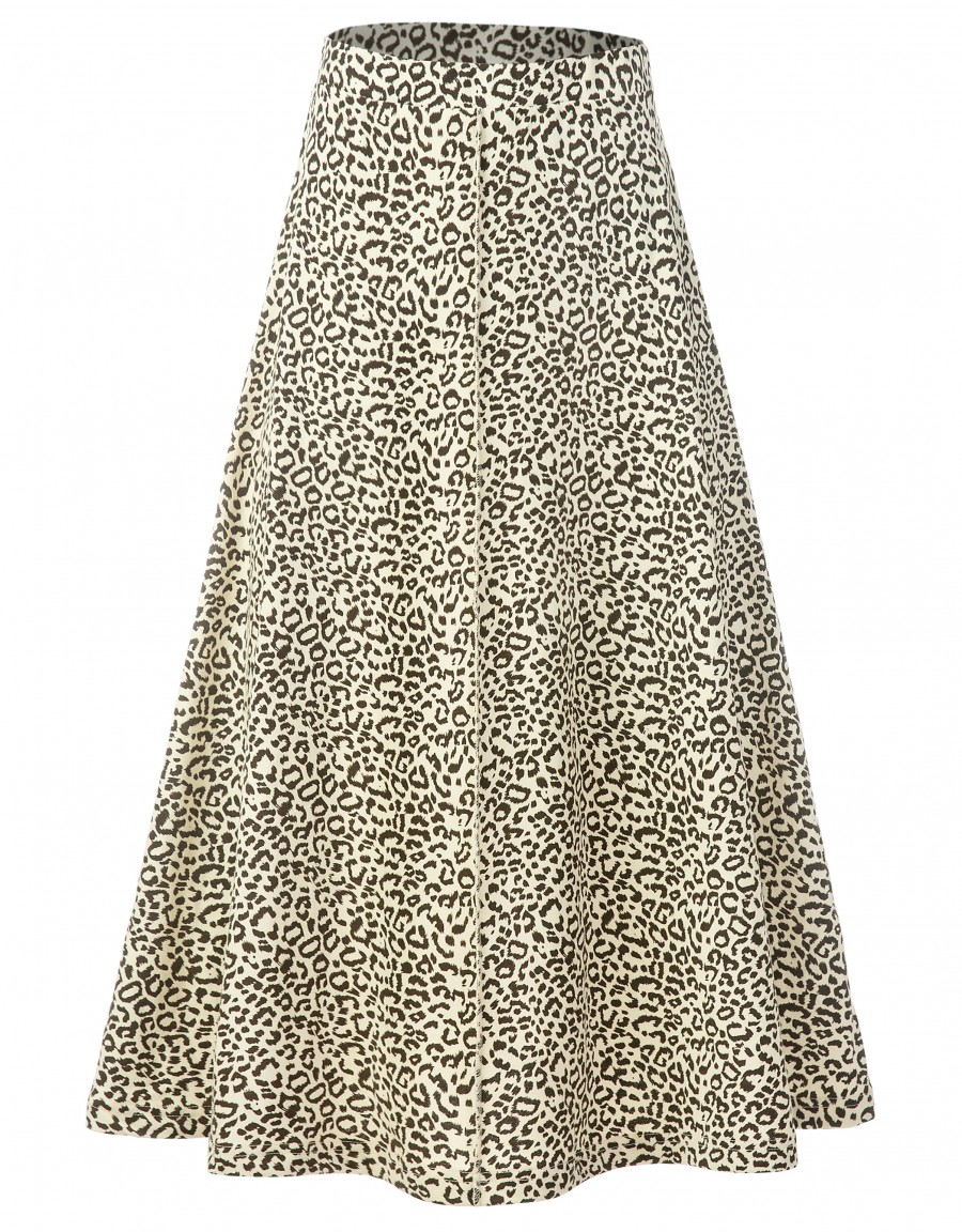 """33"""" French Terry Leopard Print Aline Skirt with Exposed Center Seam Ivory"""