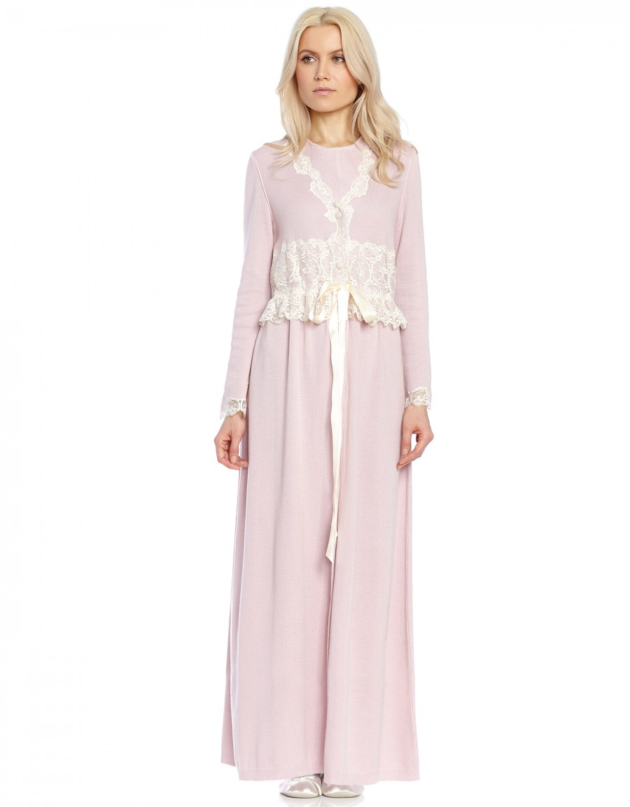 Knit Button Robe with Lace Trim