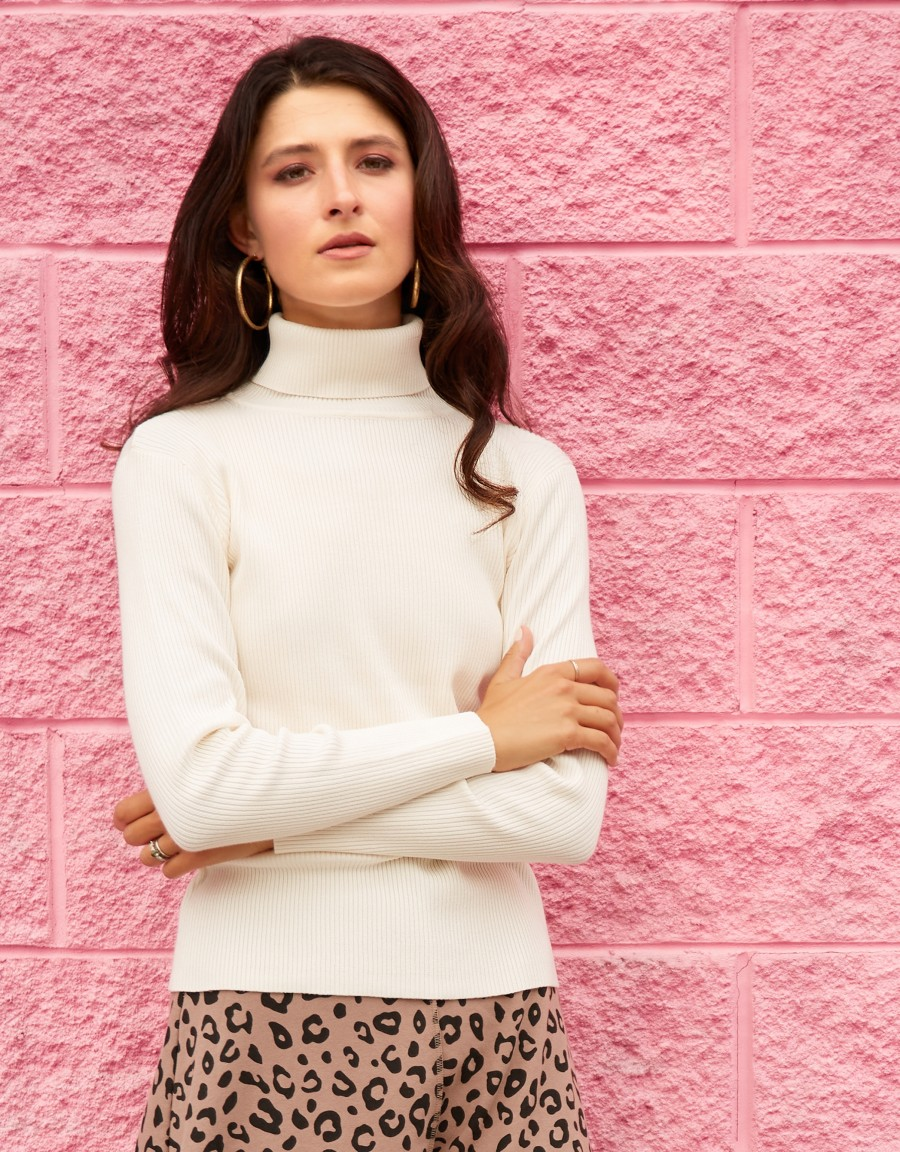 Ribbed Turtle Neck Sweater Ivory