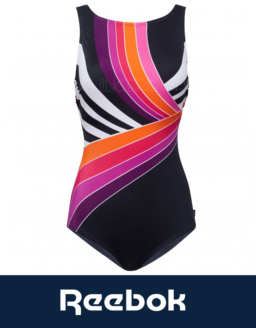 Reebok Retro Lines High Neck Swimsuit with Shelf Bra and Tummy Control Pink Multi